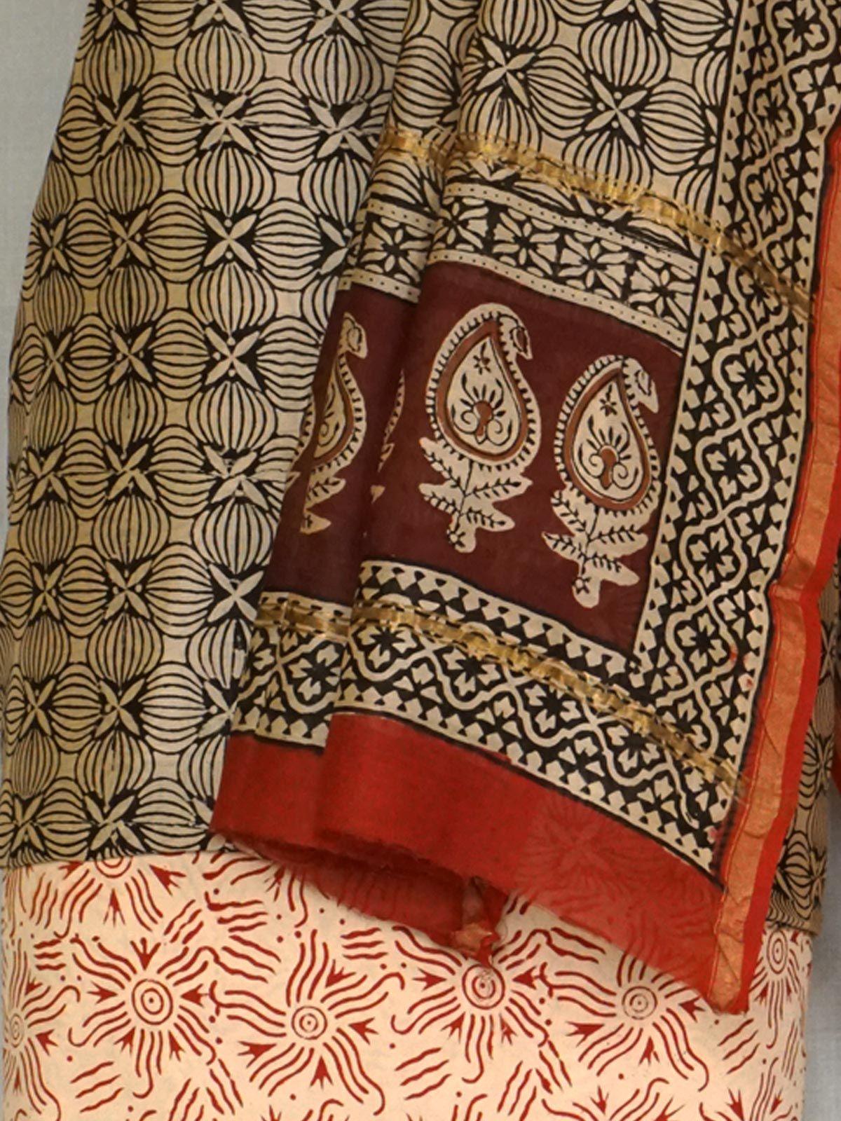 A set of pure  chanderi kurta, dupatta and cotton bottom.