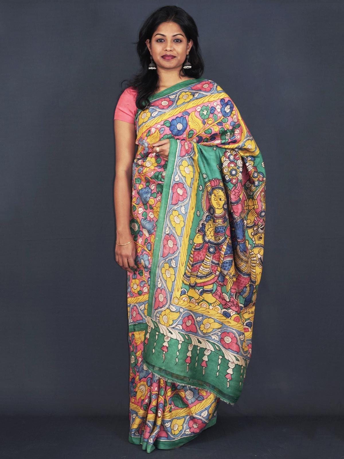Pure mulberry silk saree with beautiful pen hand kalamkari work.
