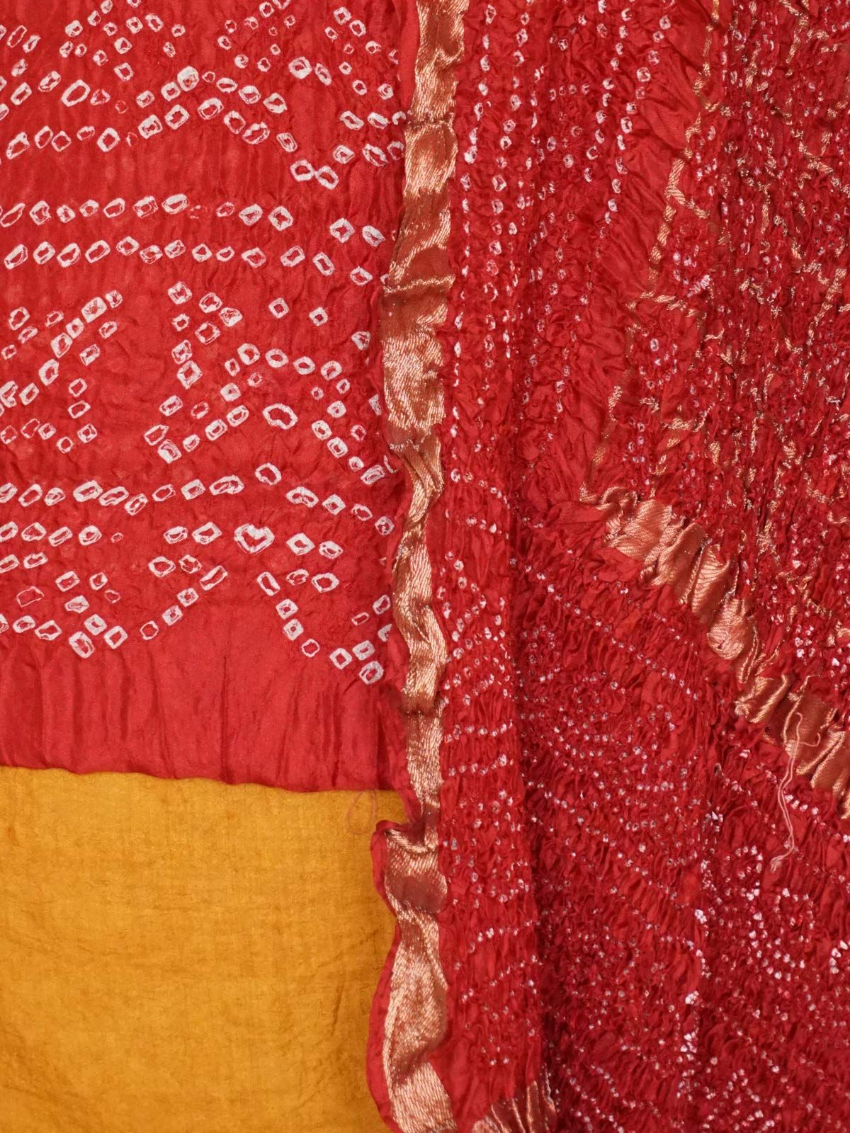 red and yellow bhandani silk dress material with dupatta