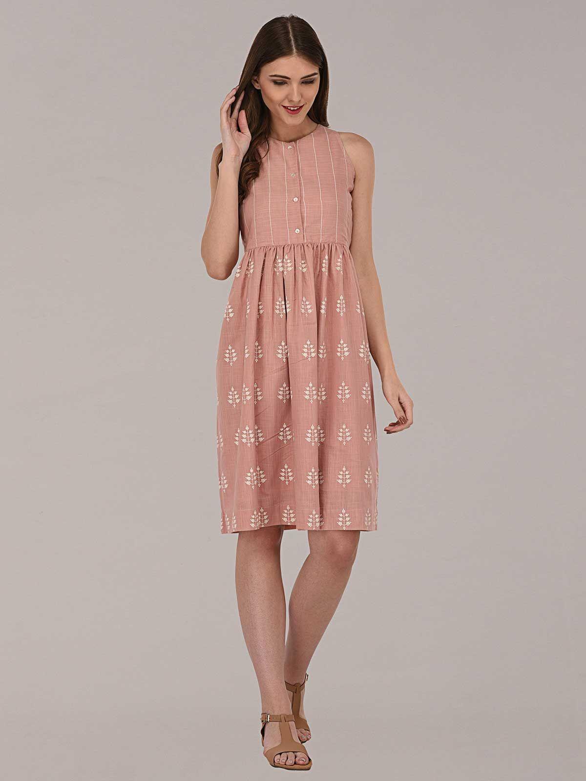 f2873c9ca4 Peach engineered screen printed sleeveless cotton dress ...