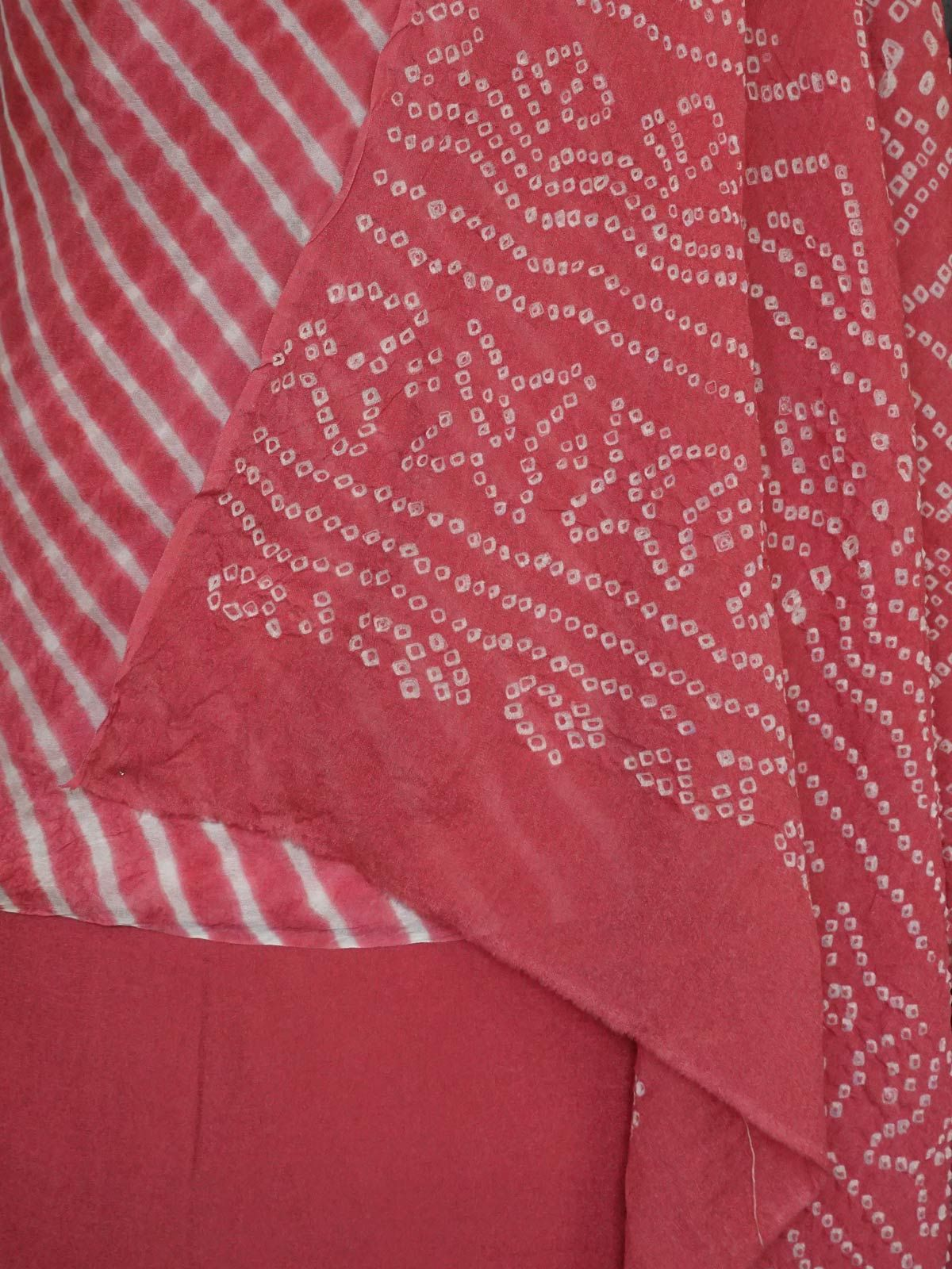 Pink crepe silk dress material with  bandhani silk dupatta