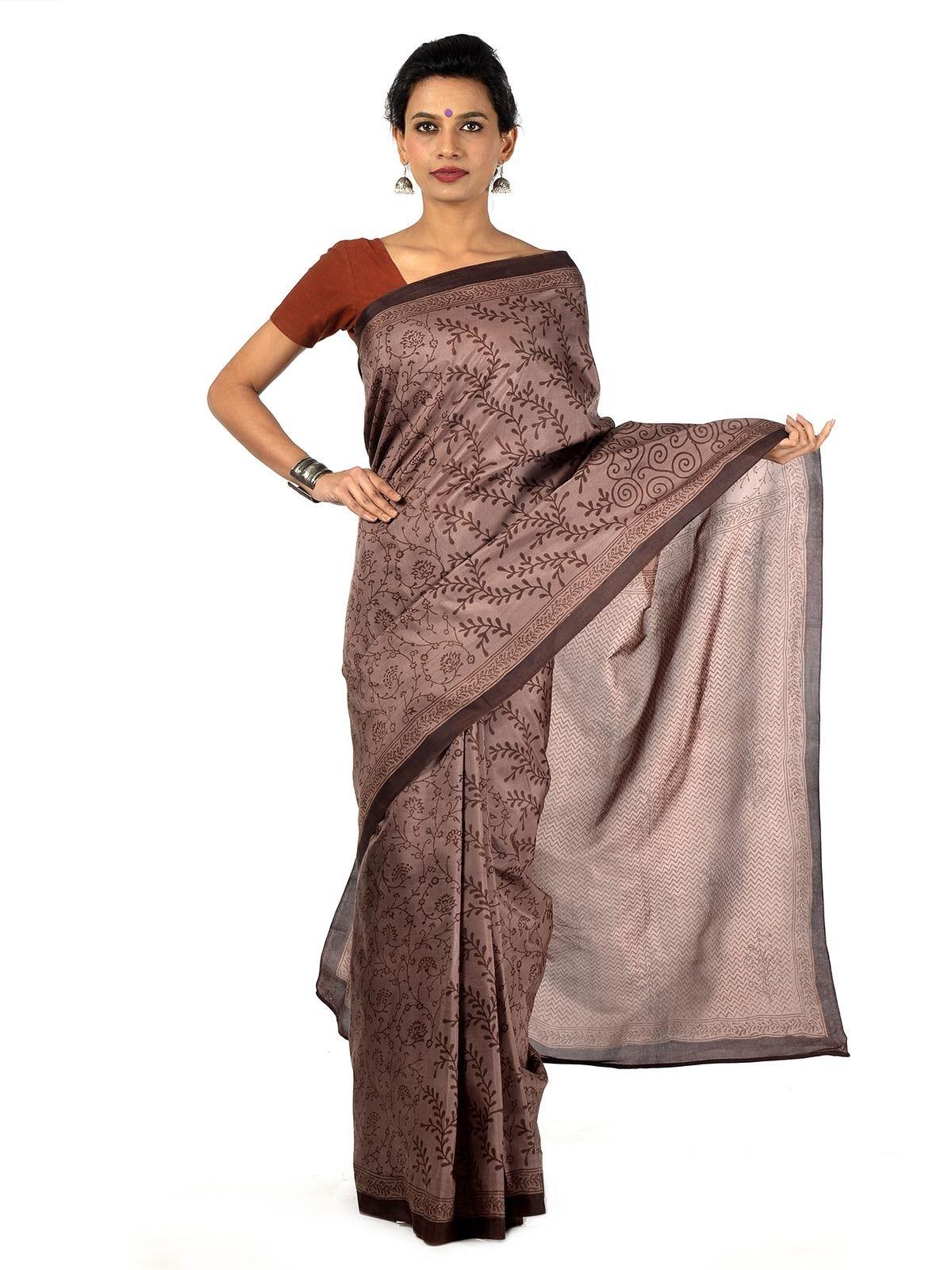 chocolate brown silk blockprinted saree