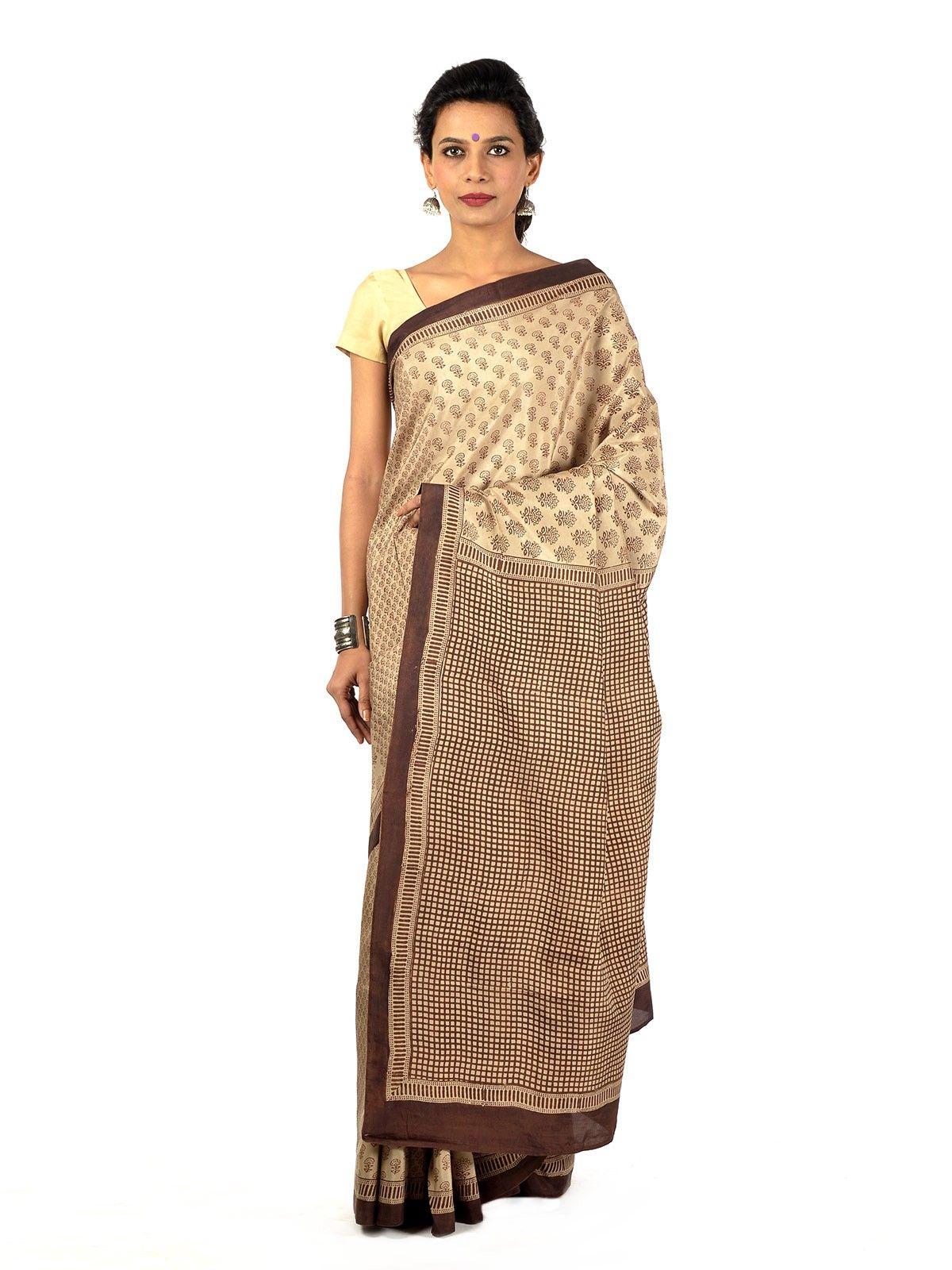 Pale brown blockprinted silk saree