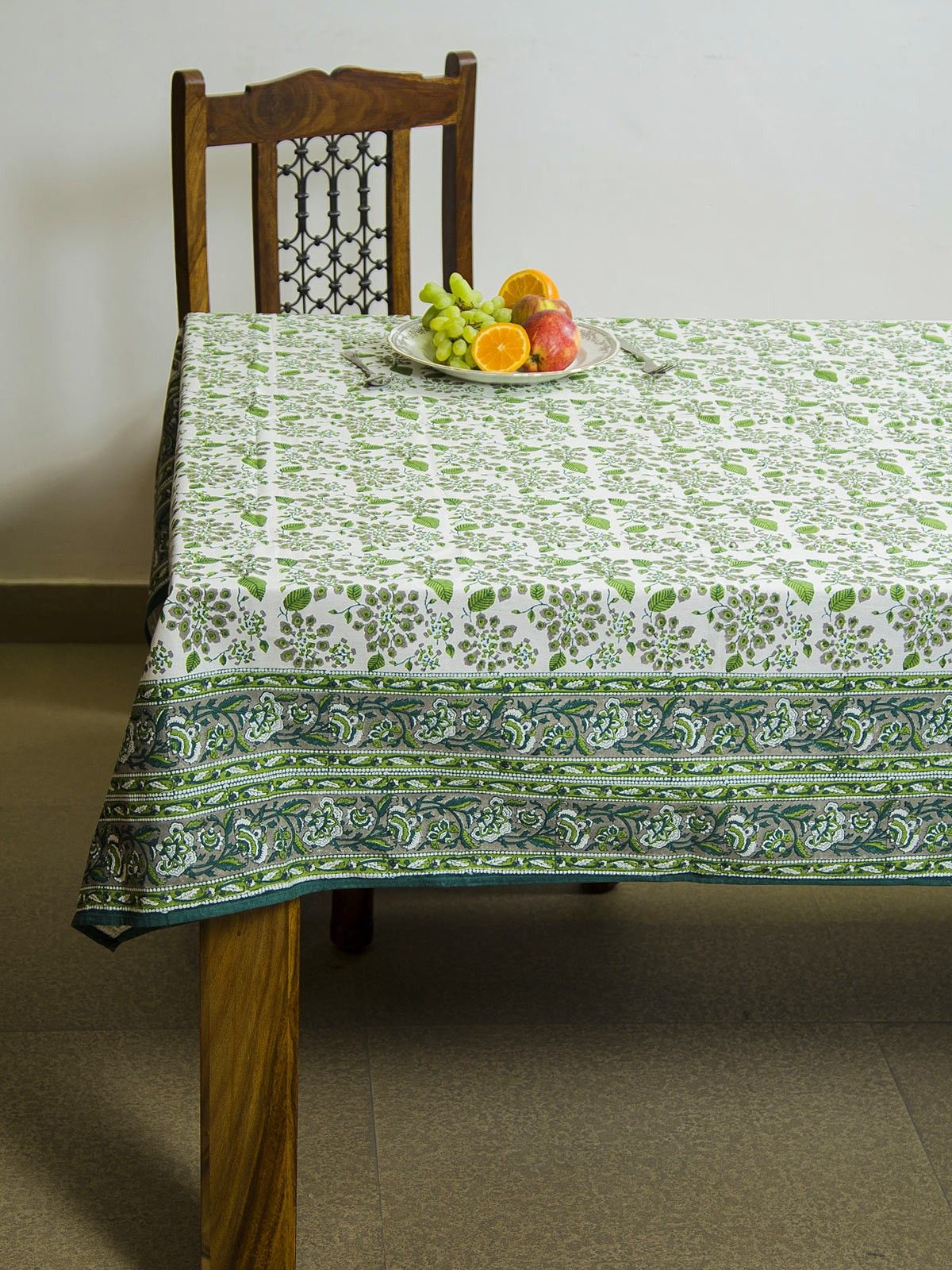 Parakeet Oasis block print 8 seater table cover