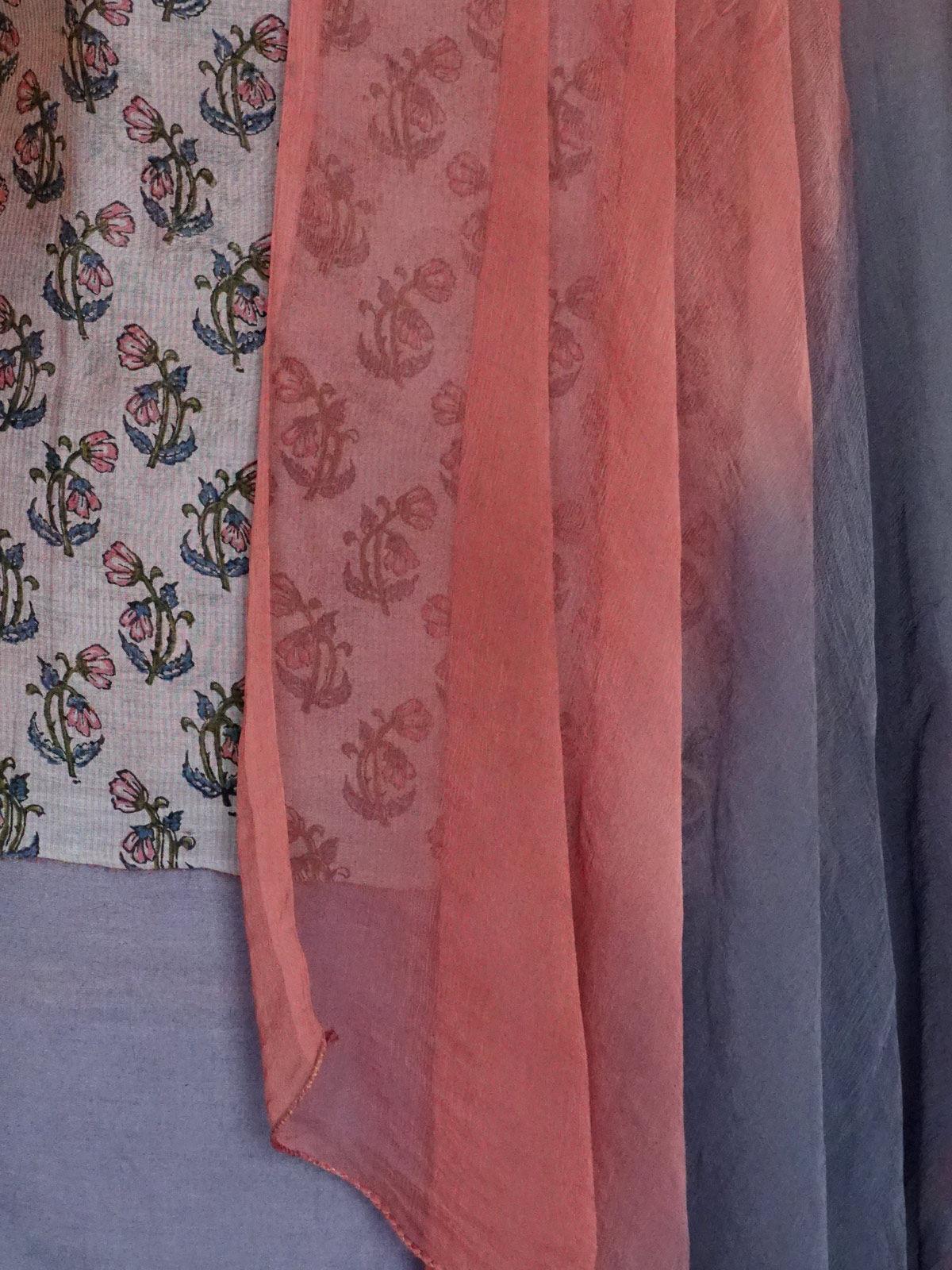 Multicolor maheshwari dress material with chiffon dupatta