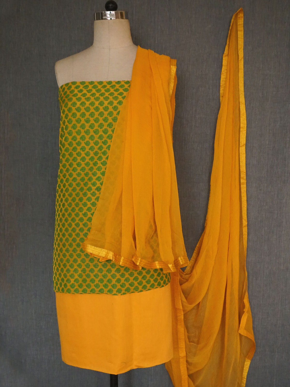 Green-yellow banarasi georgette silk dress material with chiffon dupatta