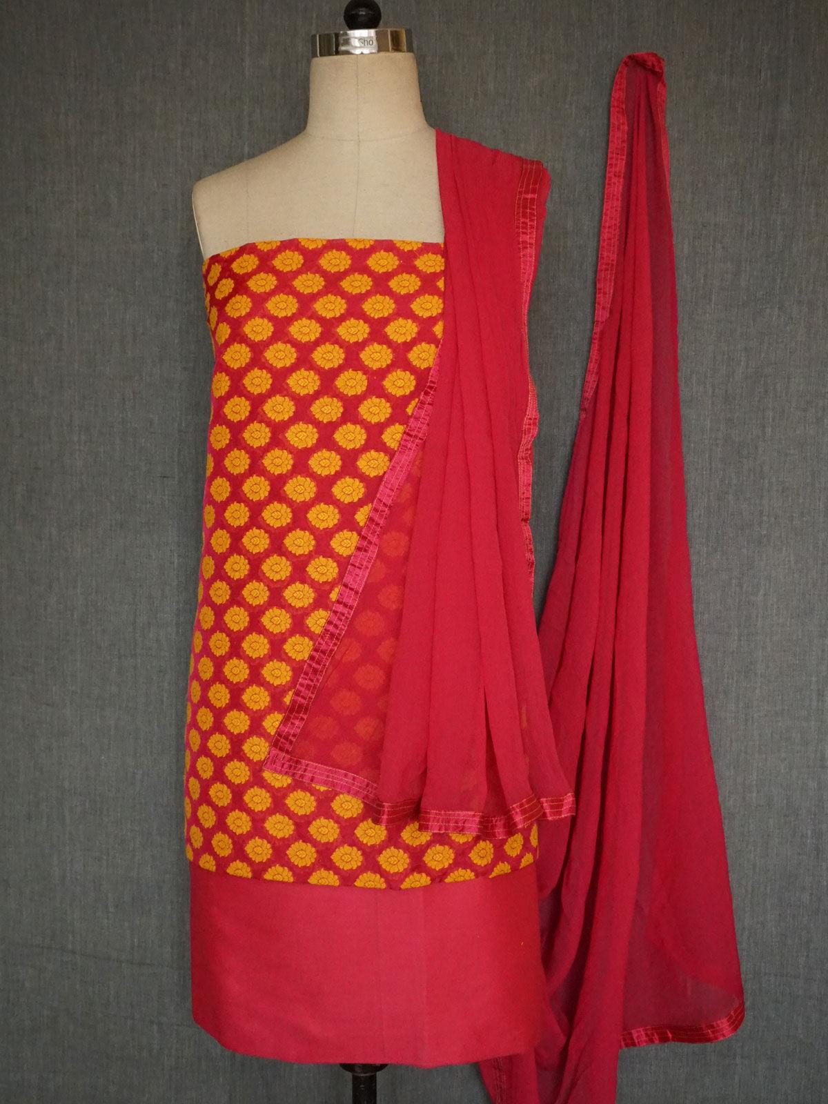 pink-yellow banarasi georgette silk dress material with chiffon dupatta