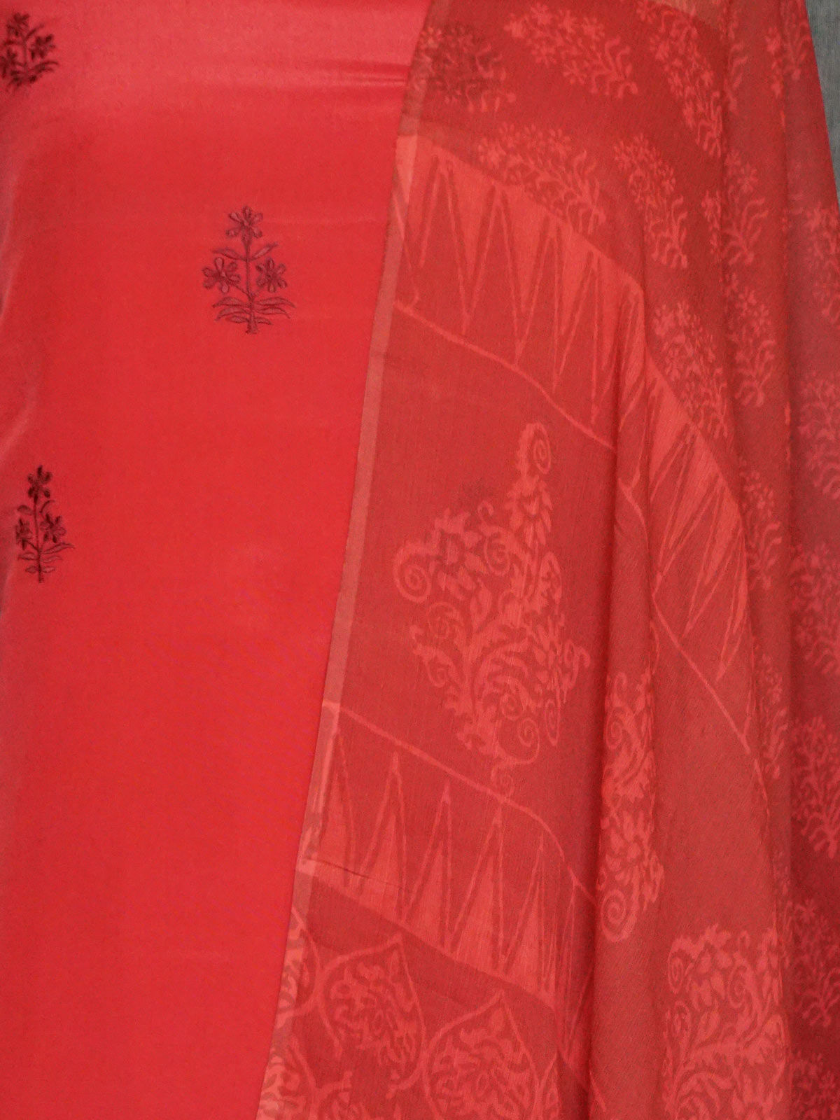 Deep Pink crepe silk  embroided dress material with chiffon dupatta