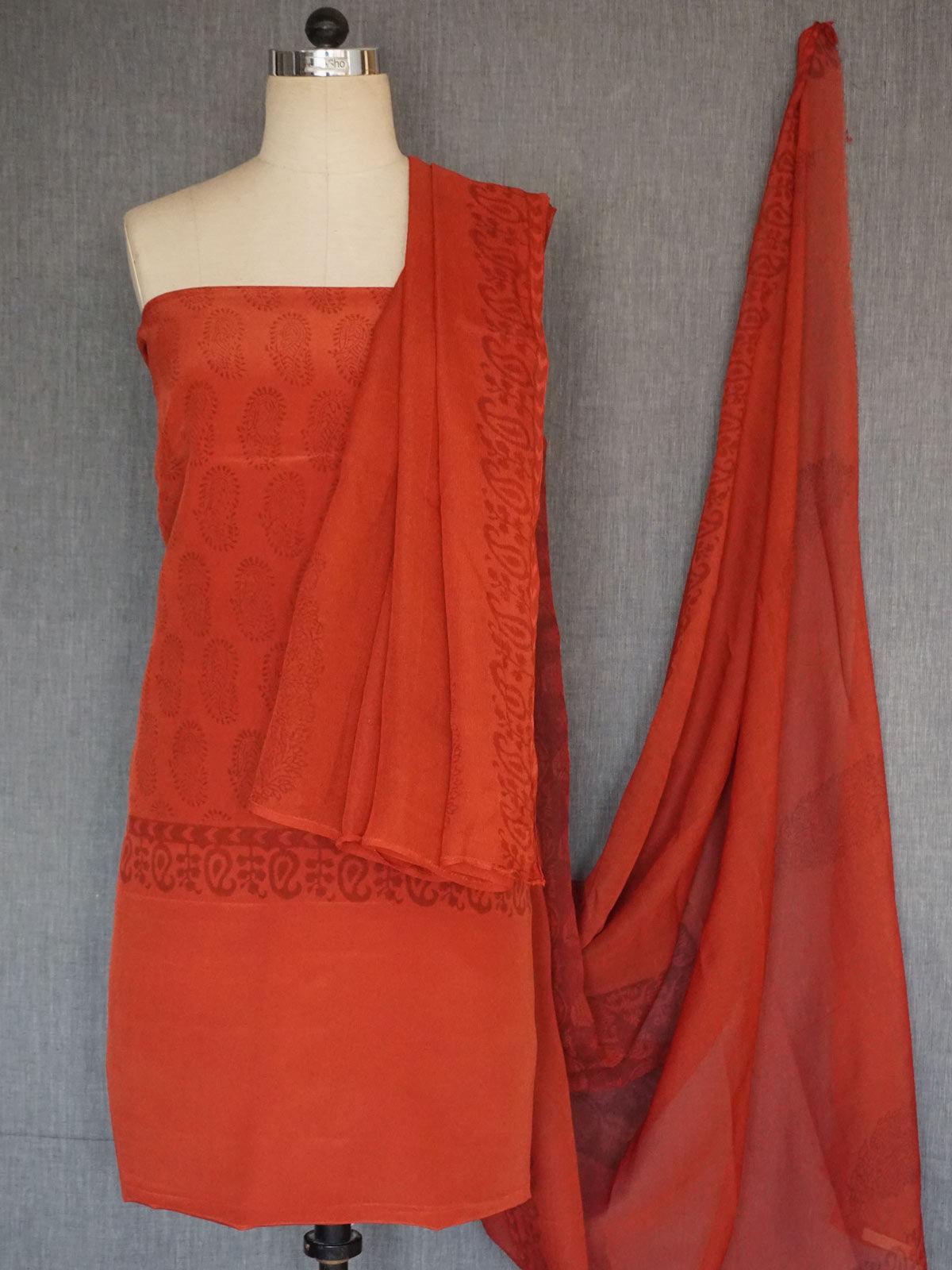 Brick clour  crepe silk  block printed dress material with chiffon block printed  dupatta
