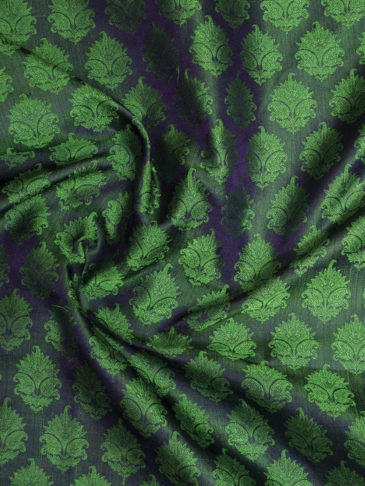 Green Banarasi Tanchoi  Silk Fabric