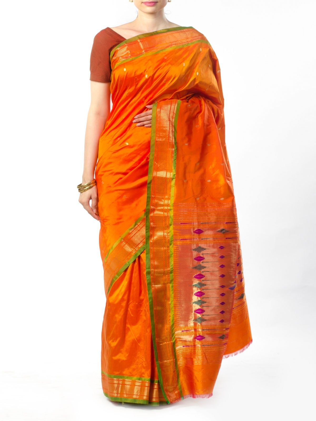 Orange Paithani Silk saree