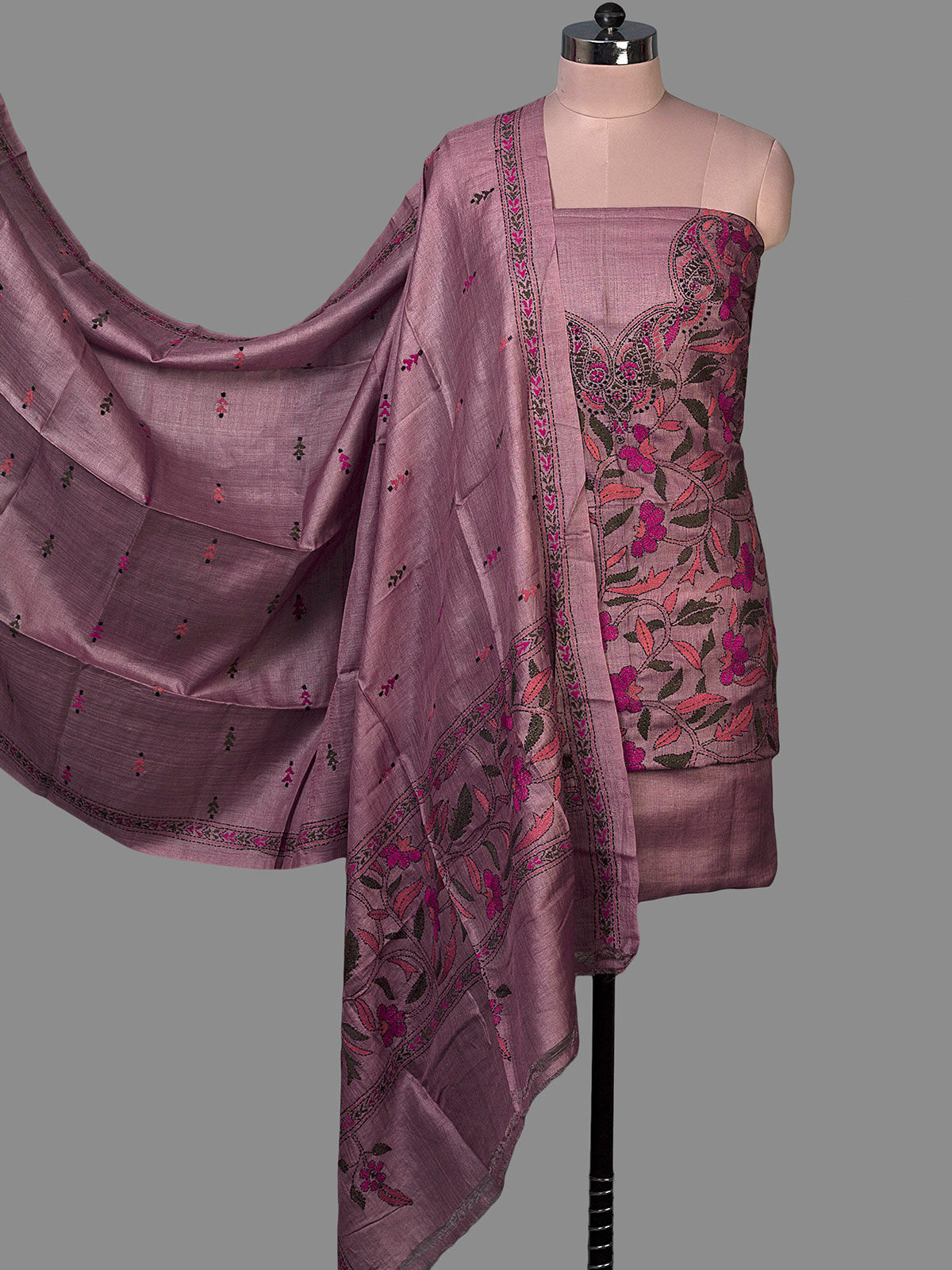 Purple Tussar Silk Unstiched Dress Material