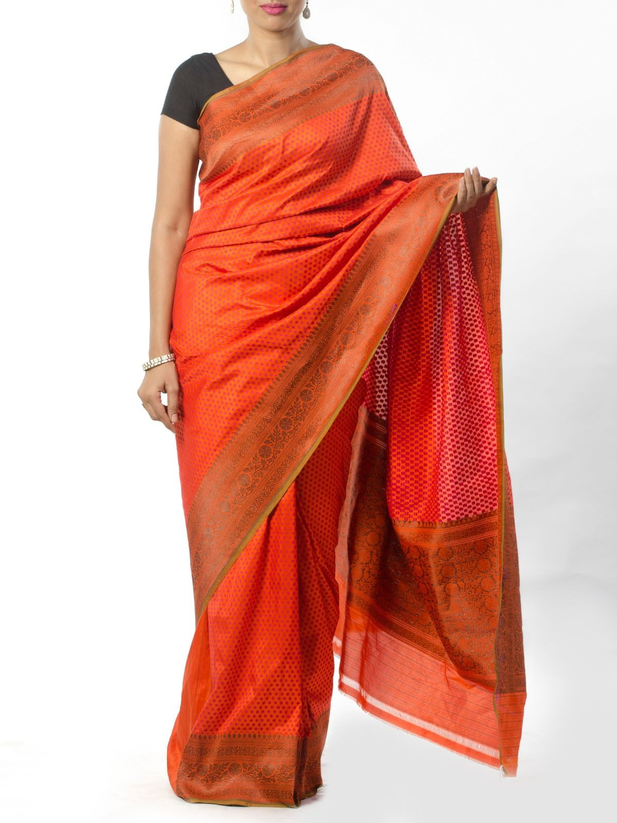 Orange Banarasi Saree with Resham Work