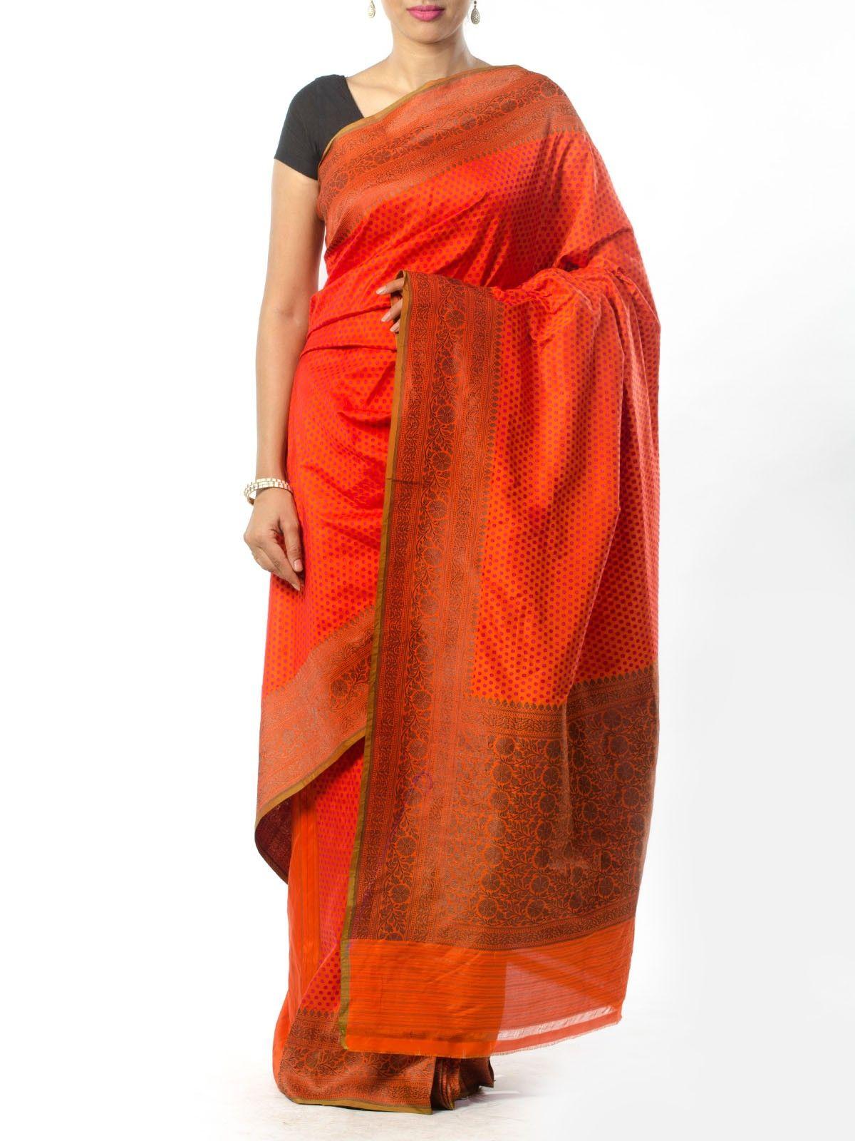 Orange Banarasi Saree with Resham Work
