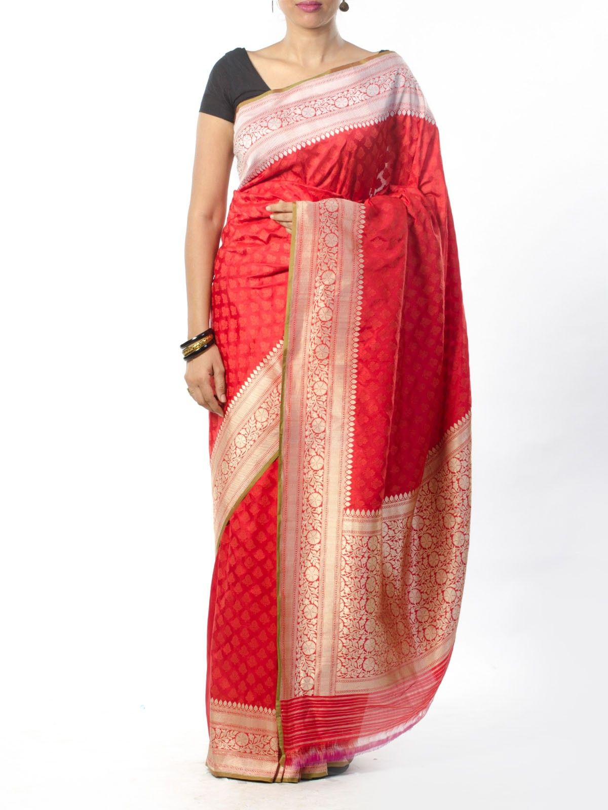Red Banarasi Saree with Zari Border