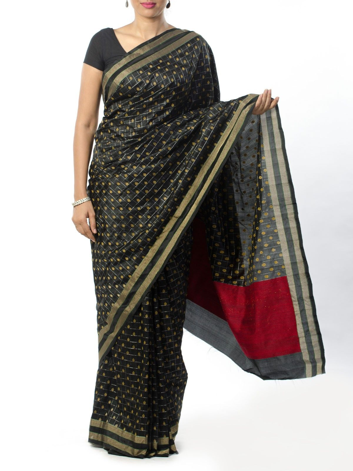Black Banarasi Saree with Zari Work