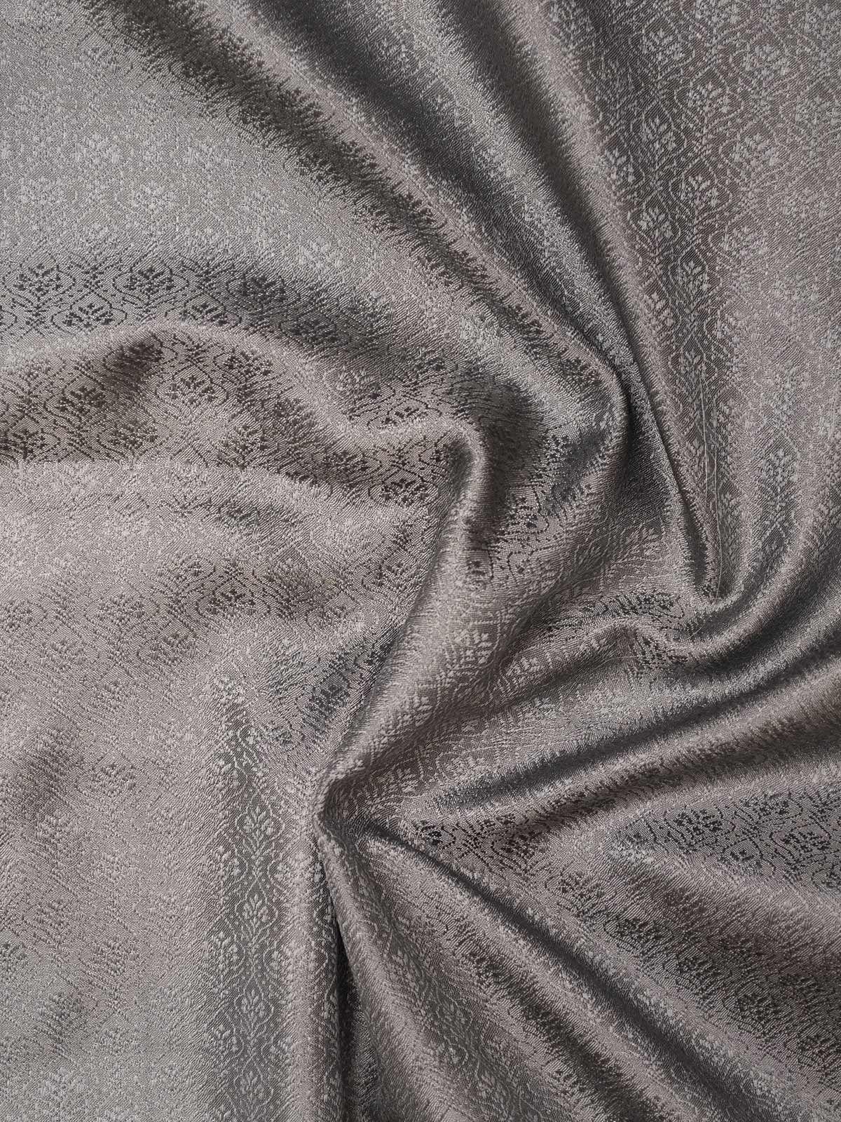 Grey Banarasi Tanchoi  Silk Fabric