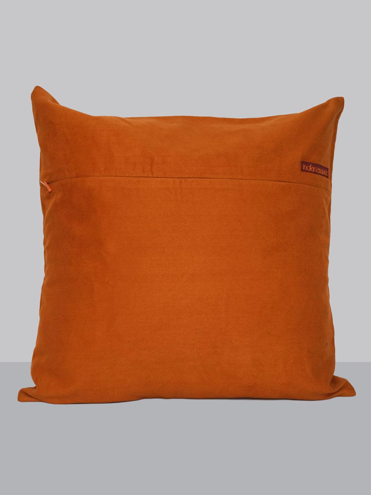 Orange suede leaf pattern felt patchwork cushion cover