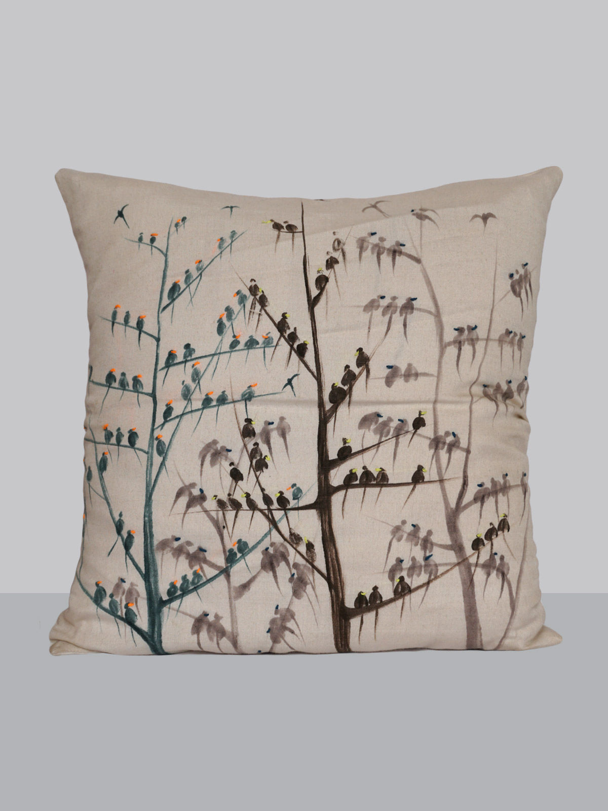Off-white tree pattern hand painted cushion cottn silk cover