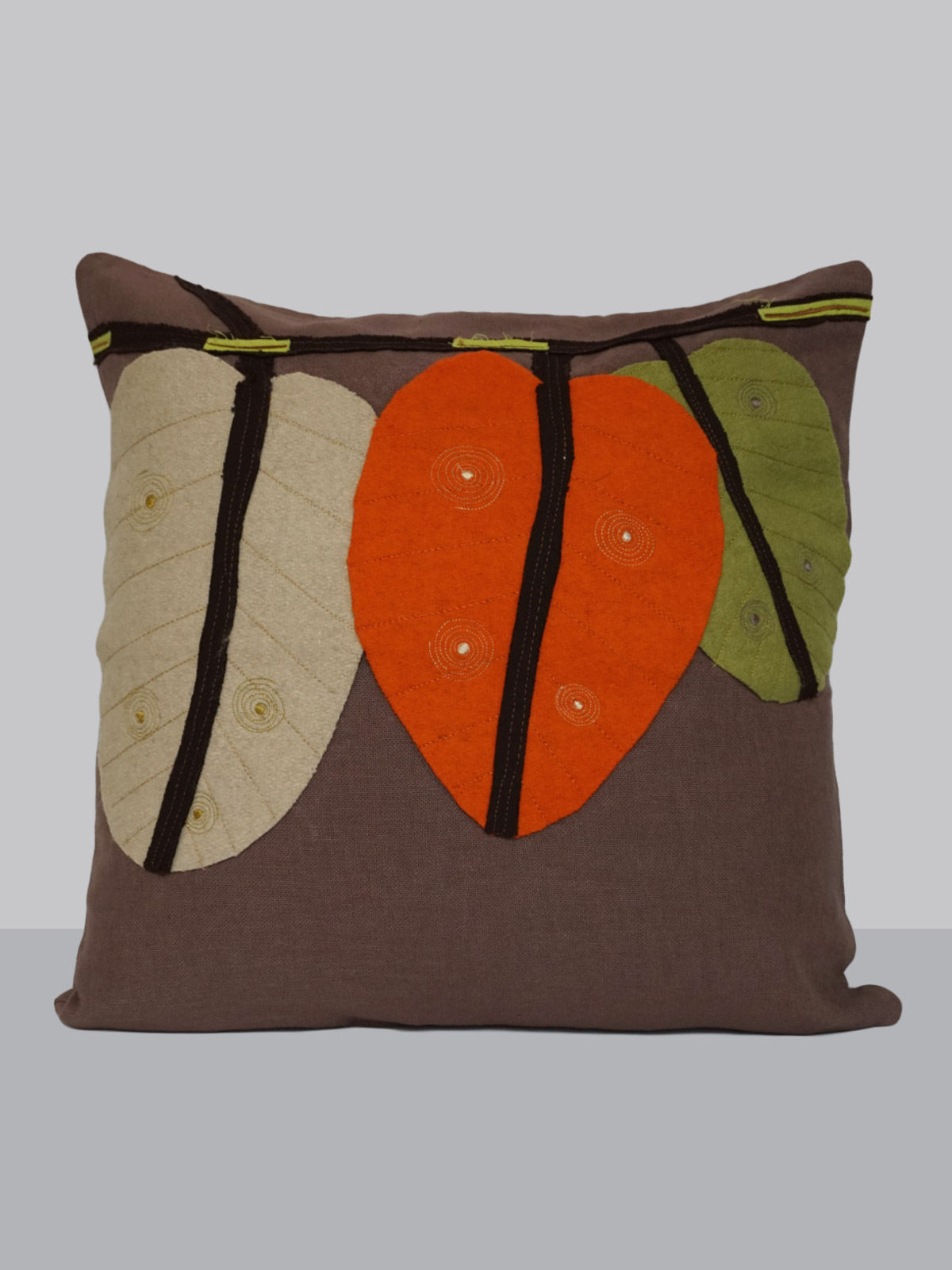 Off-white felt patchwork emroidered bif leaf cotton cushion cover