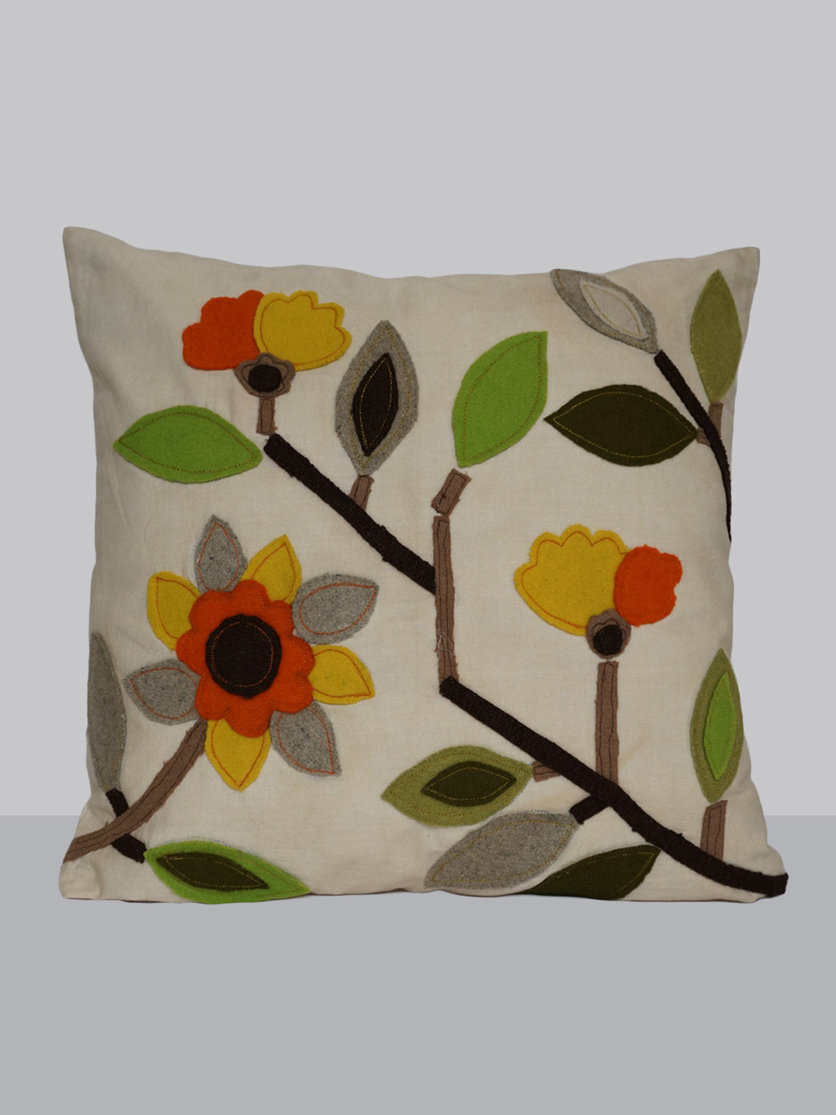 Off-white felt patchwork multicolored flower pattern emroidered cotton cushion cover