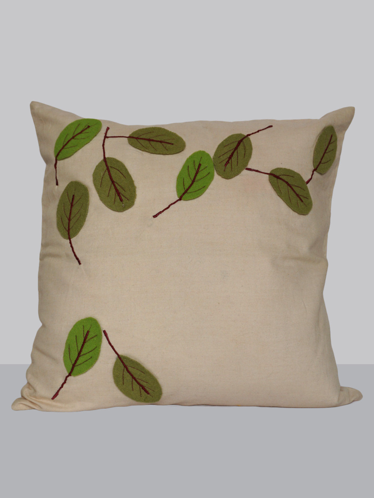 Off-white felt patchwork emroidered spring leaf pattern cotton cushion cover