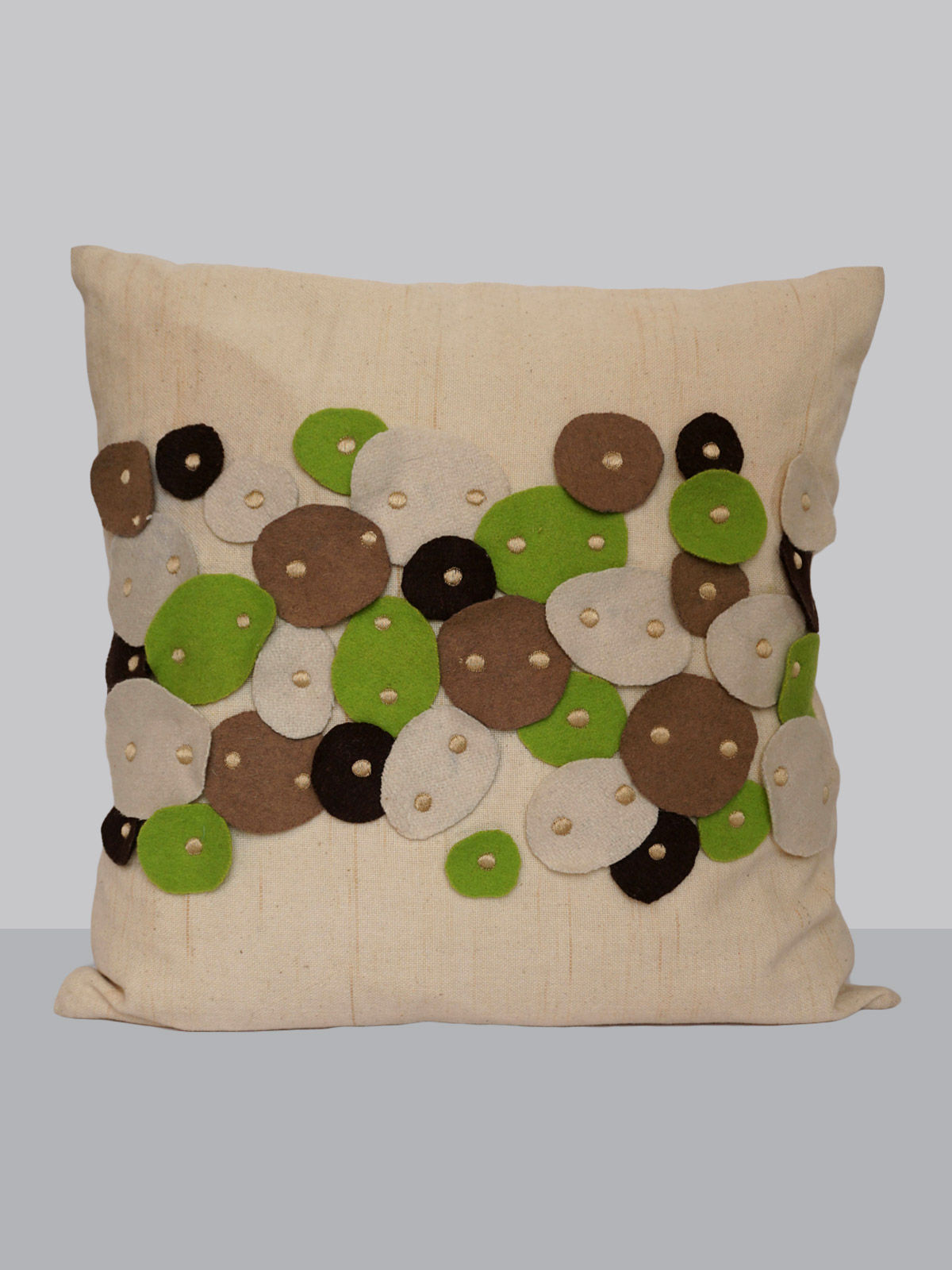 Off-white felt patchwork emroidered button pattern cotton cushion cover