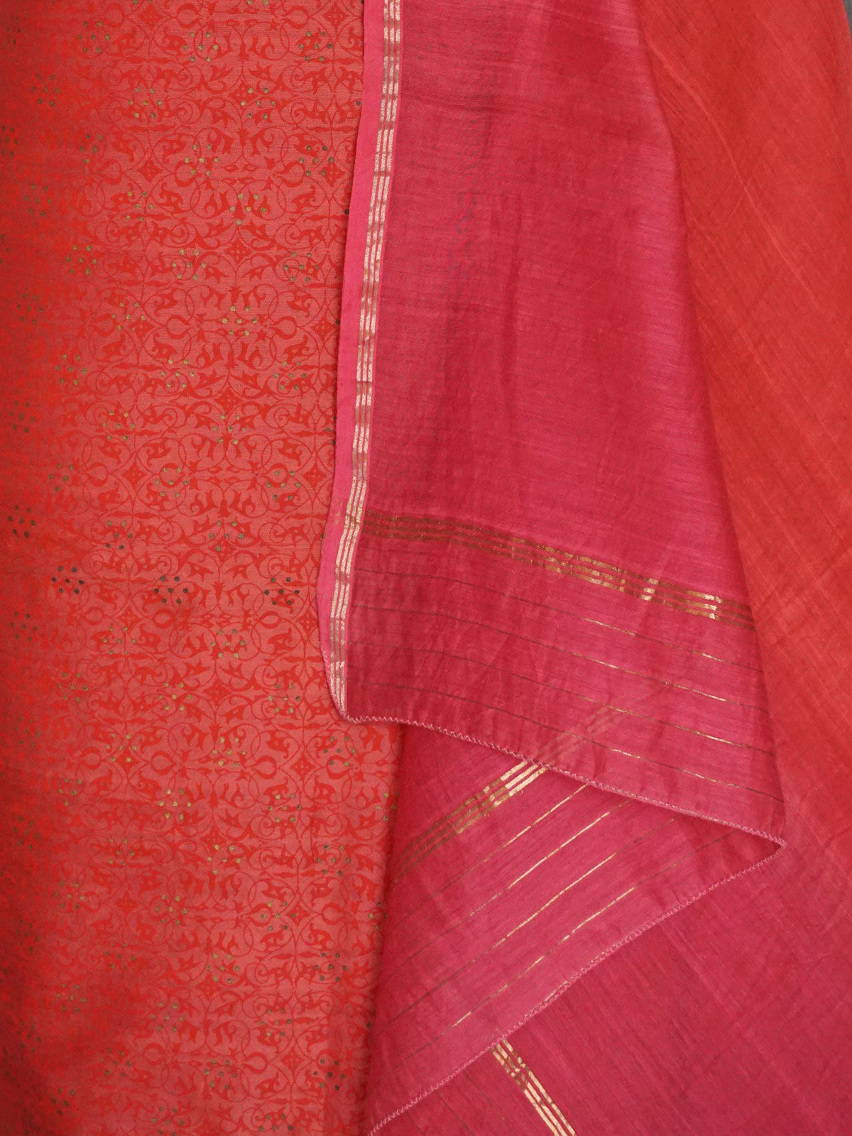 pink chanderi dress material  with dupatta