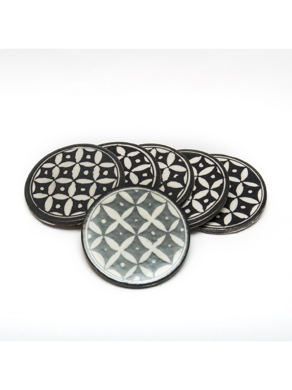 Black Ceramic Coasters - Set of Five - 3.5 Inches Diameter