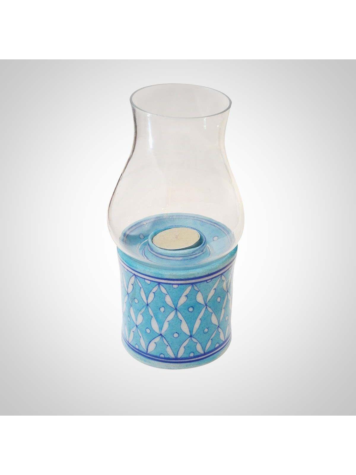 Sky Blue Ceramic & Glass Tea-Light Holder Chimney - 8.5 Inches Height