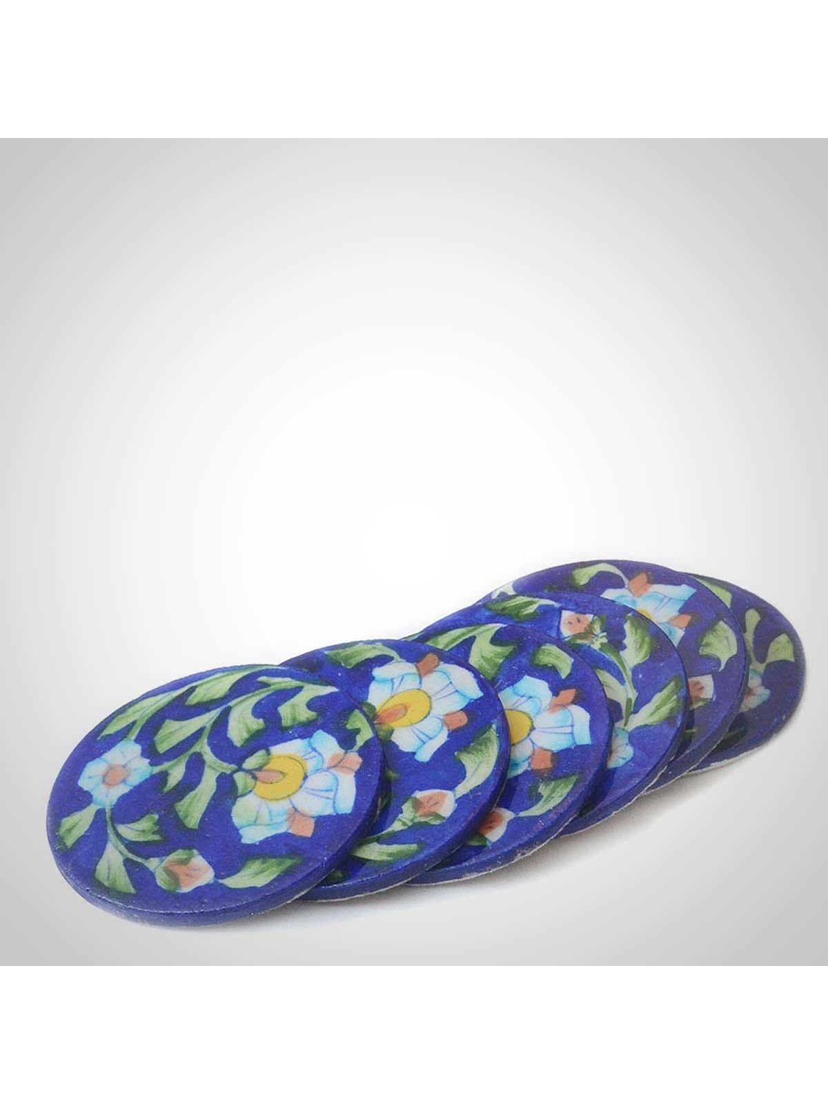 Dark Blue Ceramic Coasters - Set of Six - 3.5 Inches Diameter