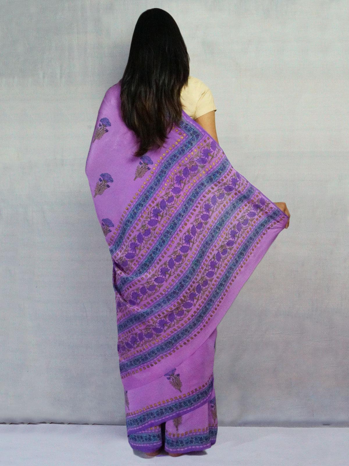 Purple pure crepe silk saree with handblock floral print