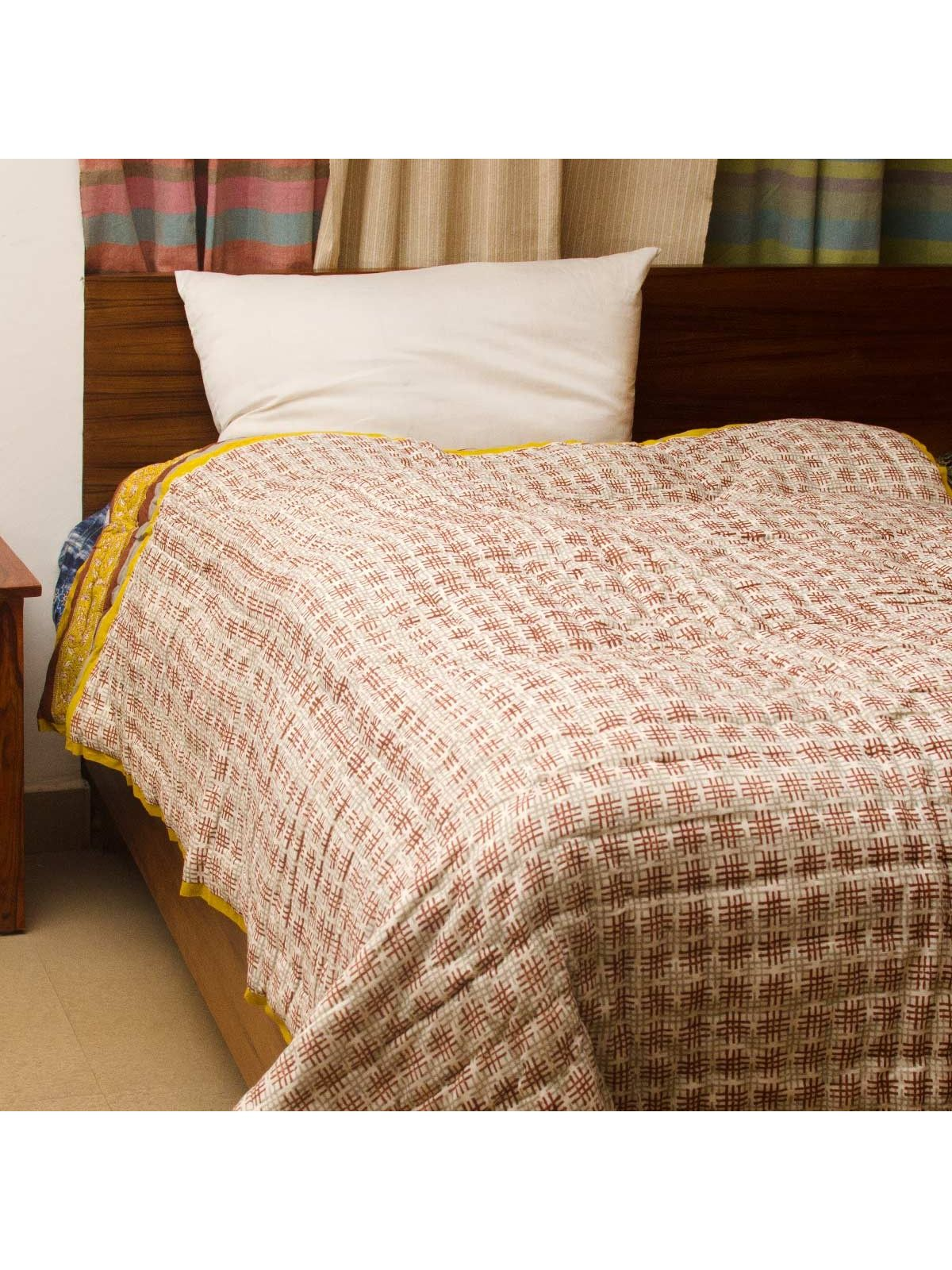 Brown Damask Block Printed Cotton Single Quilt