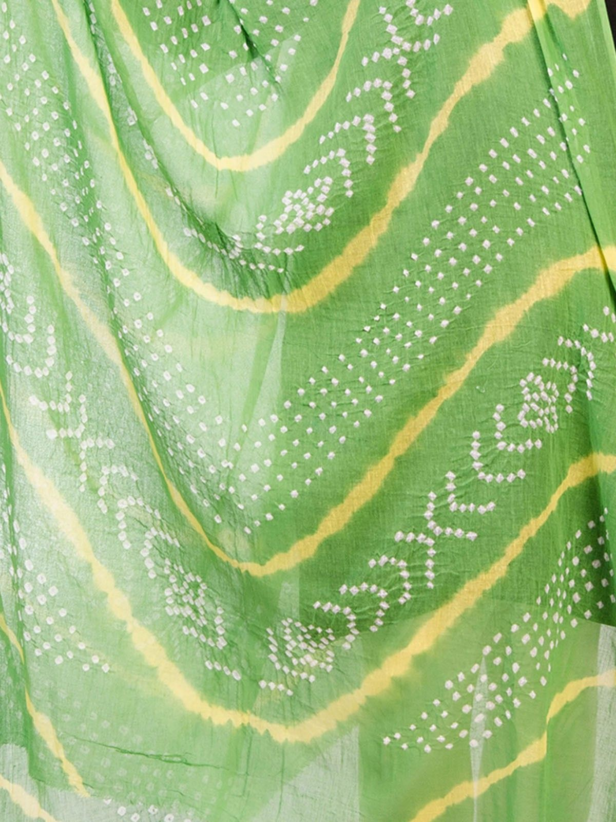 Green Cotton Tie & Dye Dupatta