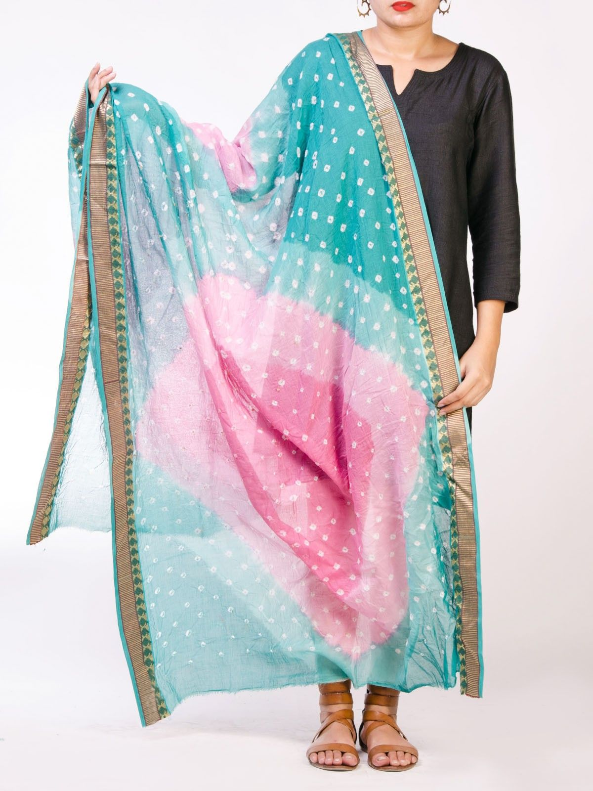 Turquoise and Pink Cotton Tie & Dye Dupatta