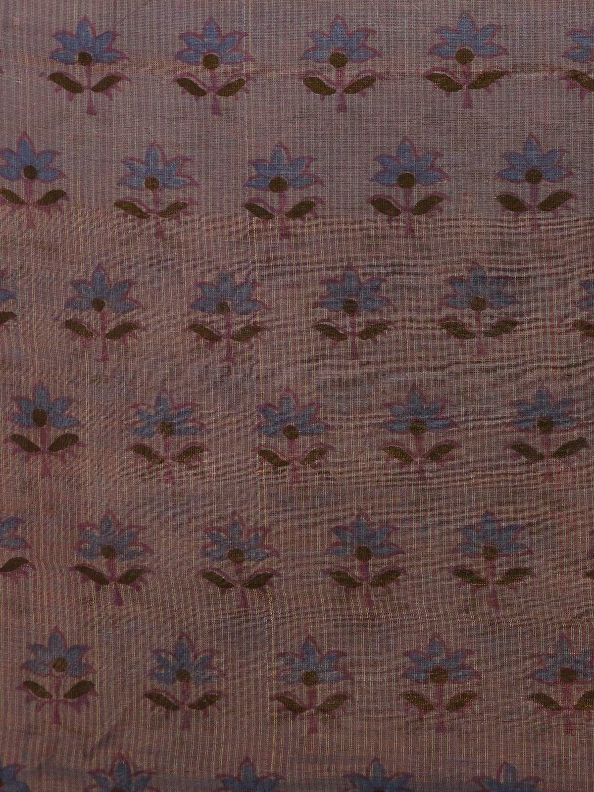 voilet printed maheshwari cotton silk fabric