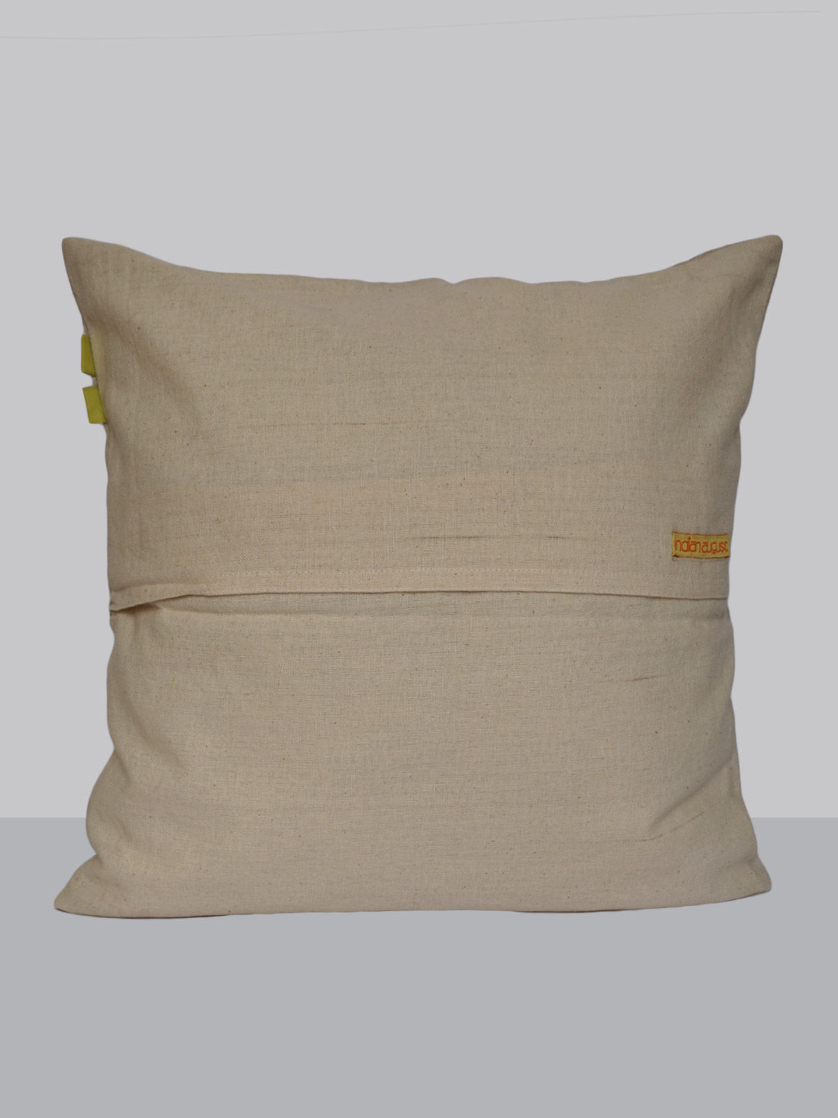 Beige cotton embroided floral pattern cushion cover
