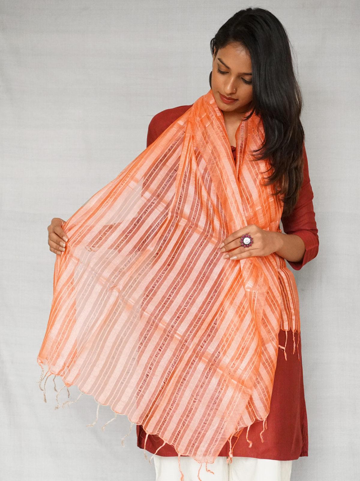 Peach Tusser Silk Stole