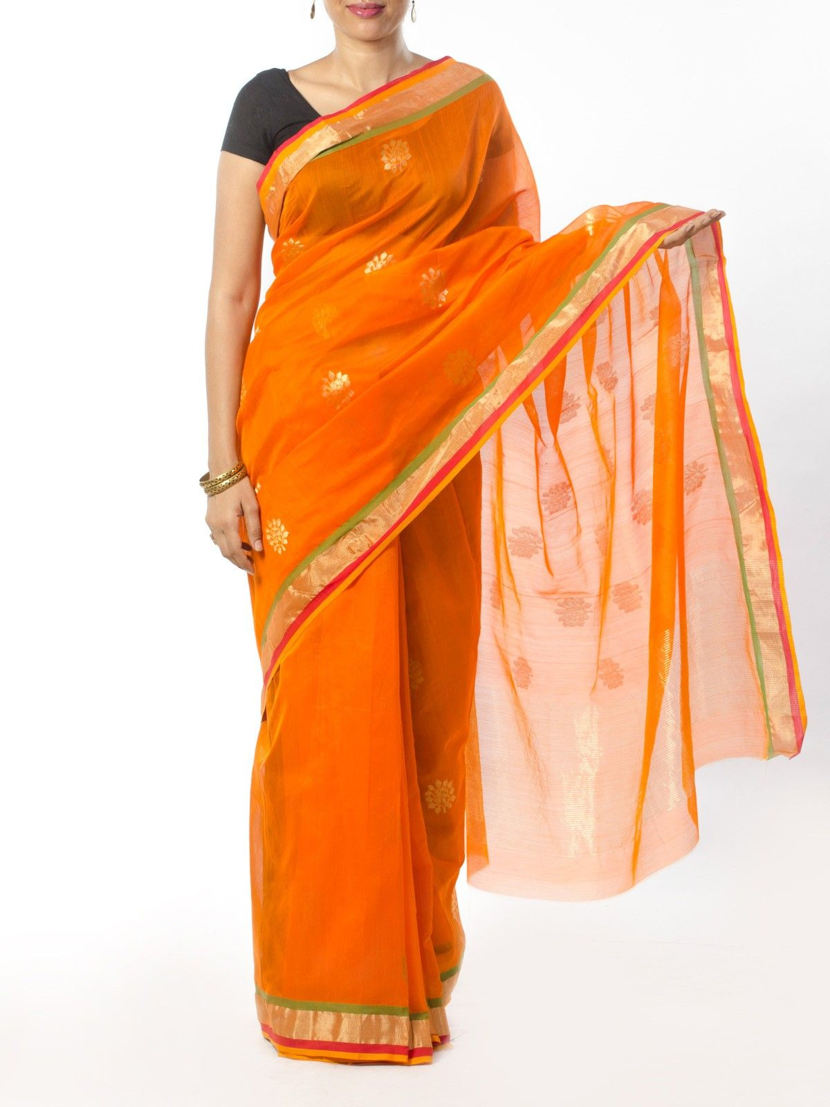 Orange Chanderi Saree with Zari Work