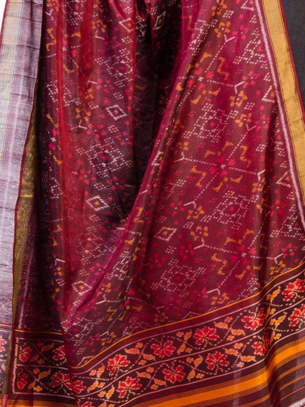 Wine Silk Ikat Dupatta