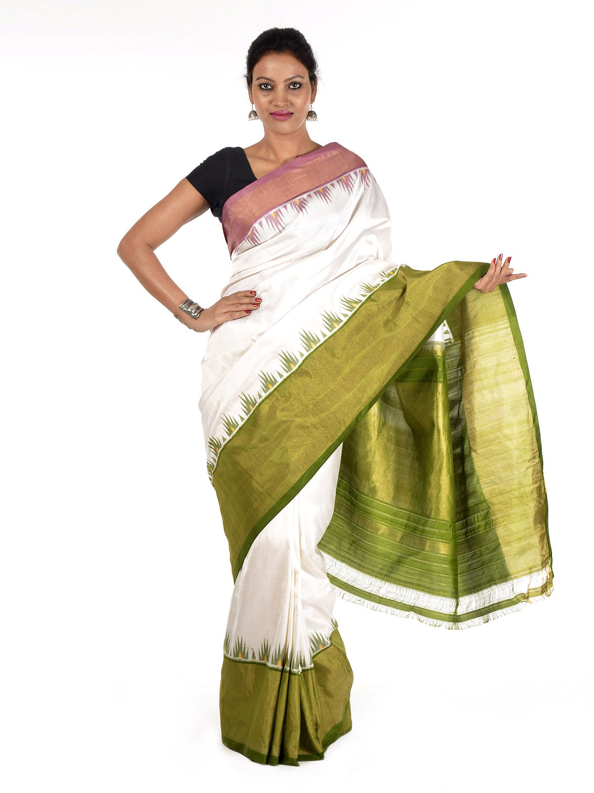 White and Green Ikat Silk Saree