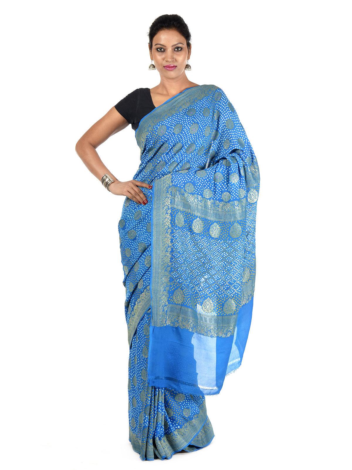 Vinila Banarasi Georgette Bandhani Silk Saree