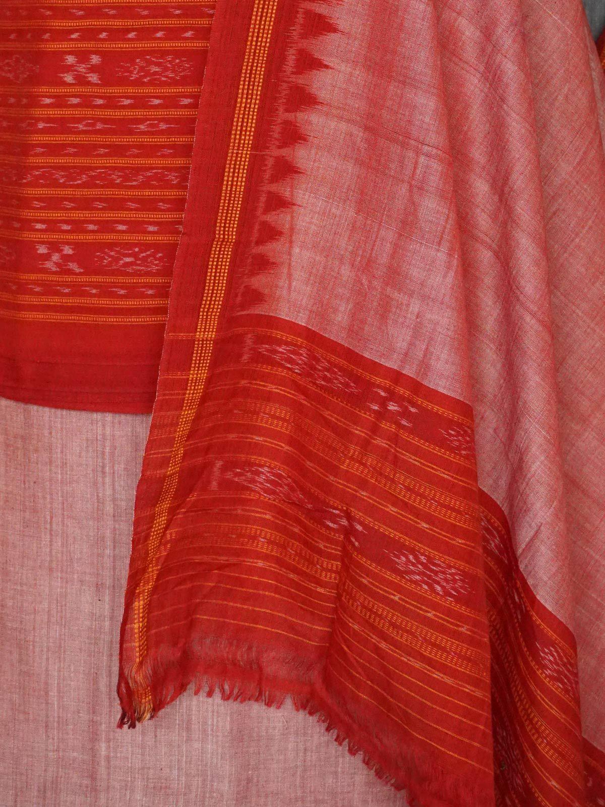 Burnt orange ikat cotton dress material with dupatta