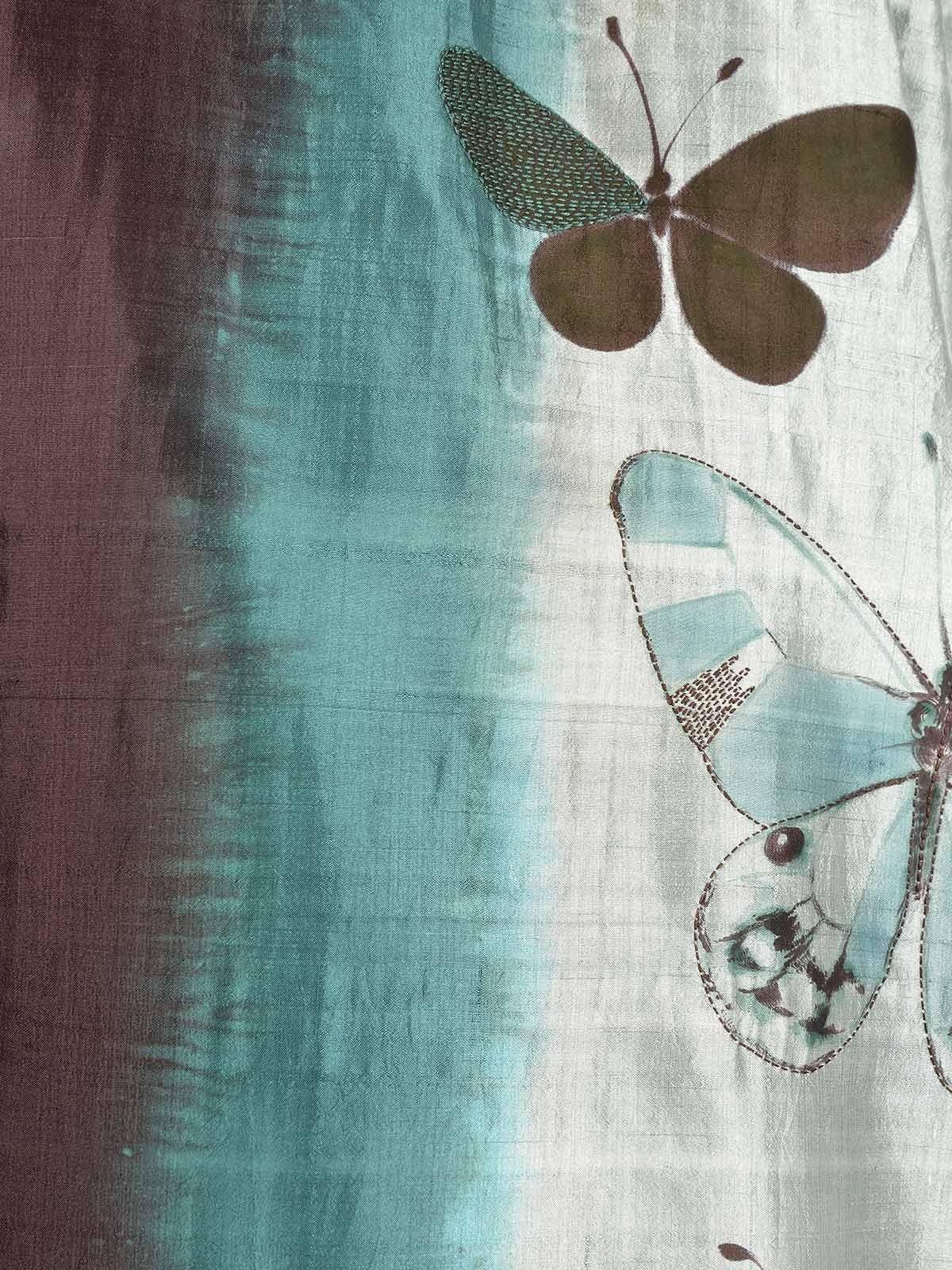Mist green handpainted silk saree