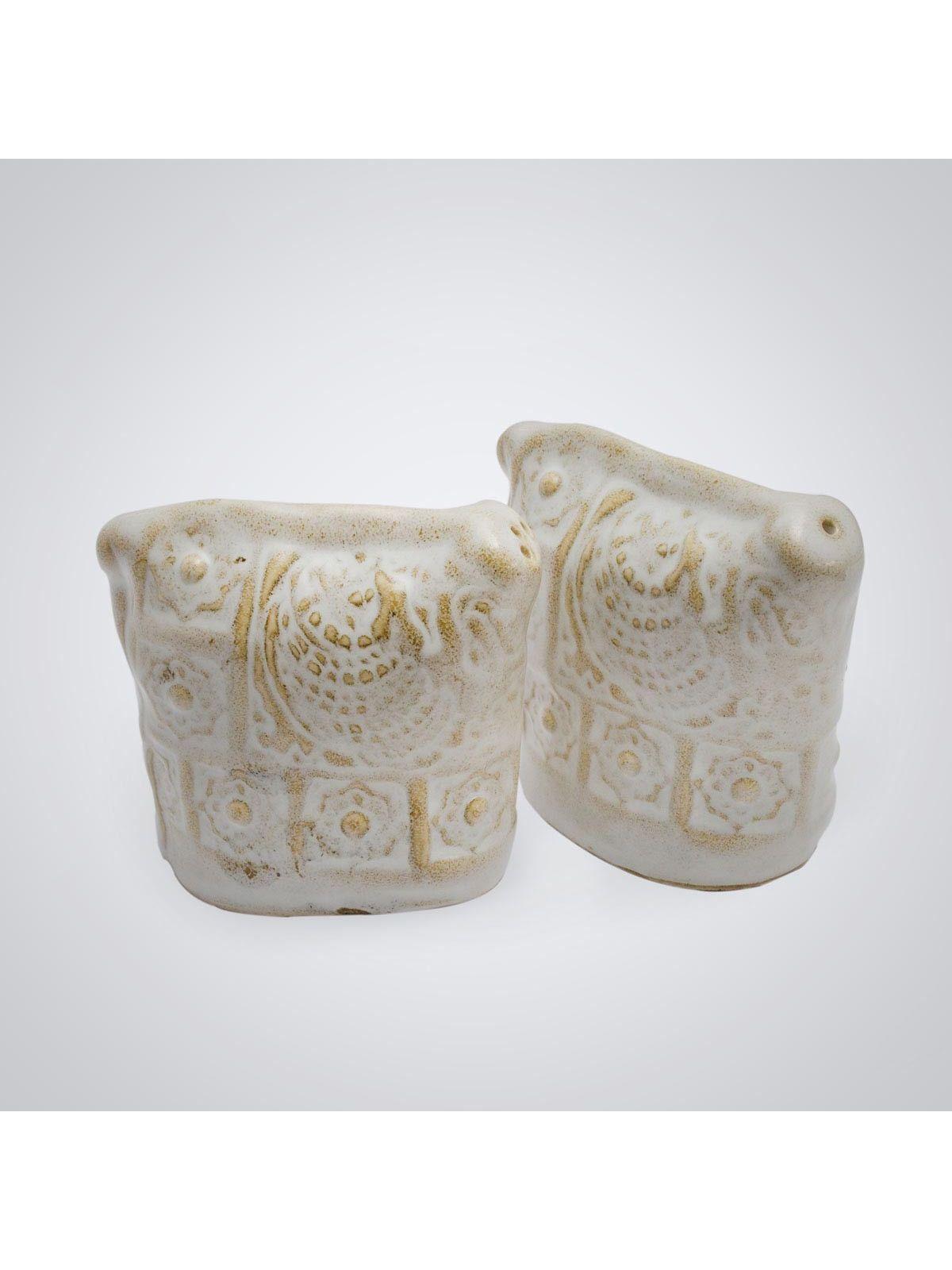 White Ceramic Salt & Pepper Holder - 1pc