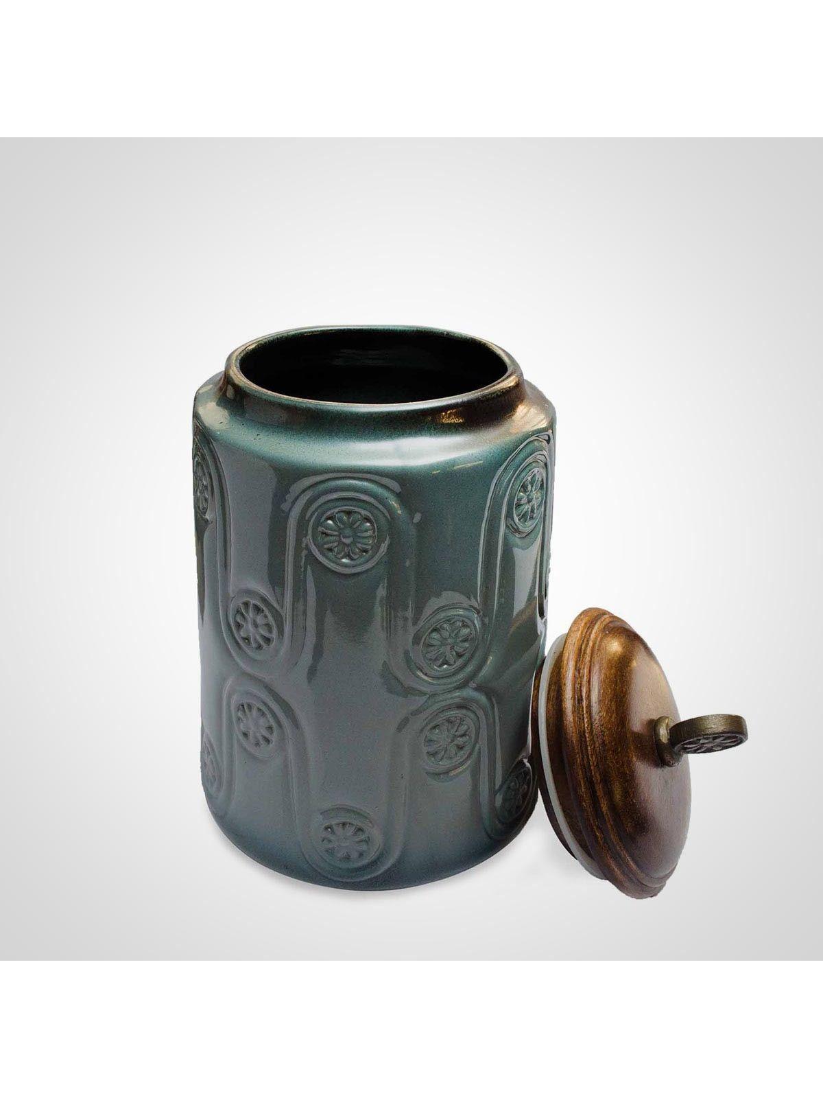 Blue Ceramic Jar with Lid