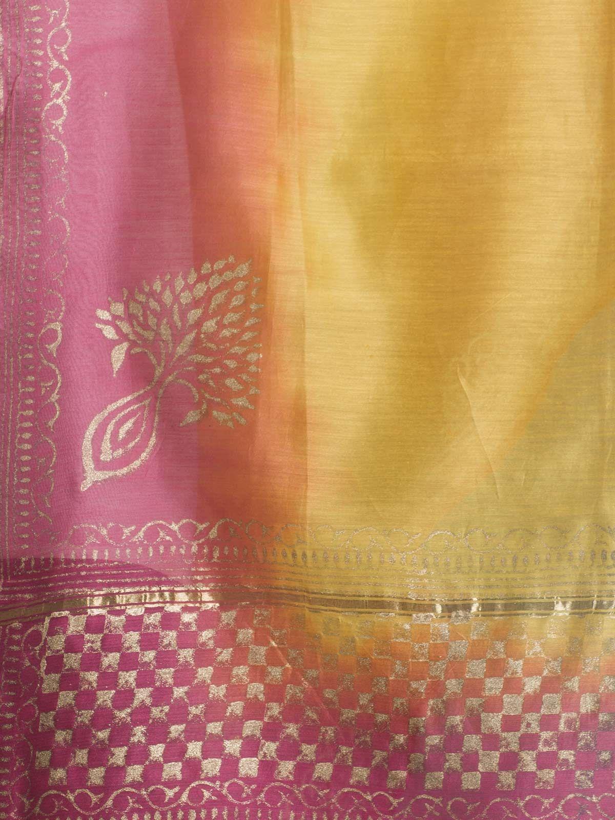 Pink and YellowChanderi Gold Block Print Dupatta