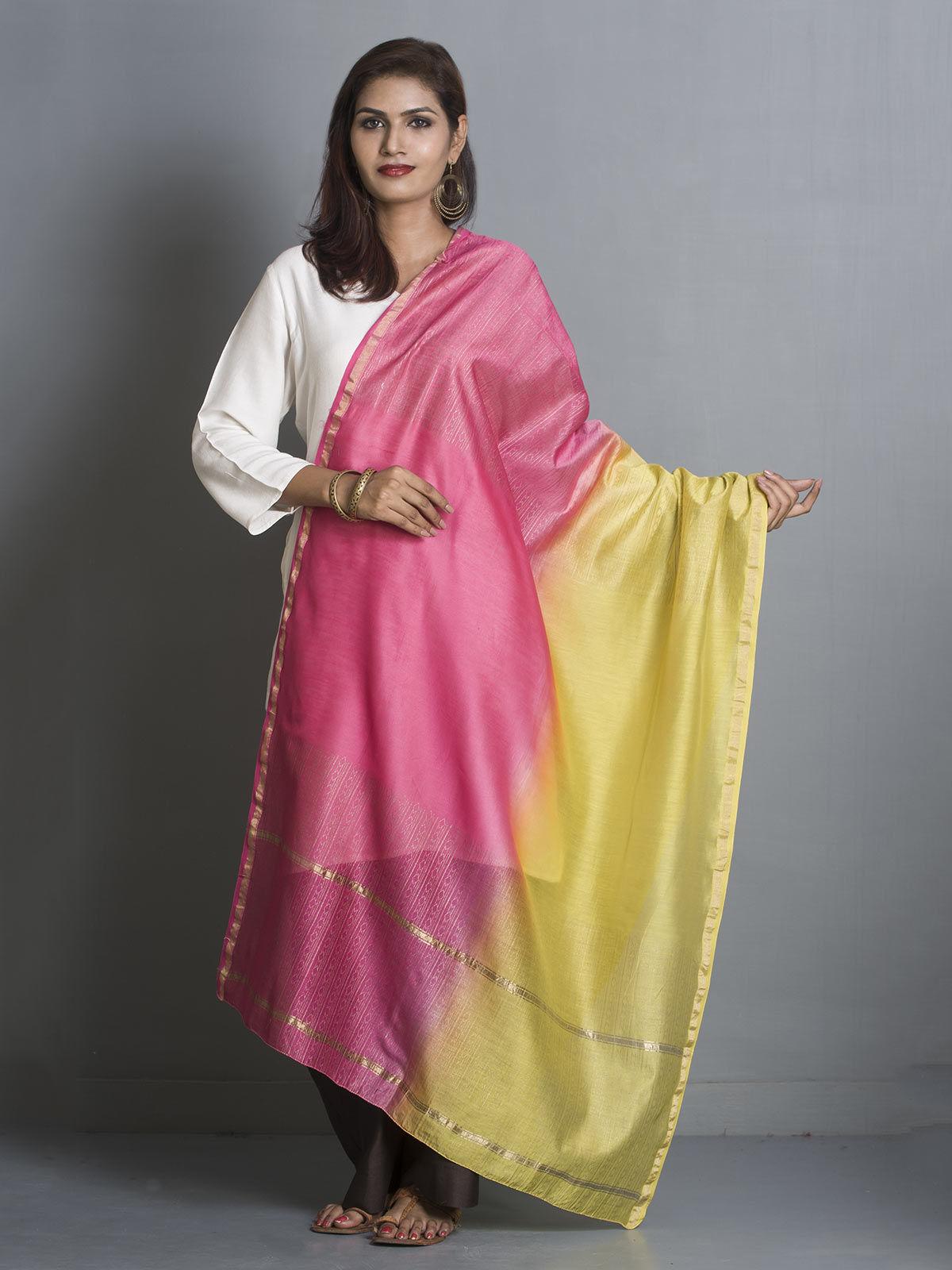 Green and Pink Chanderi Gold Block Print Dupatta