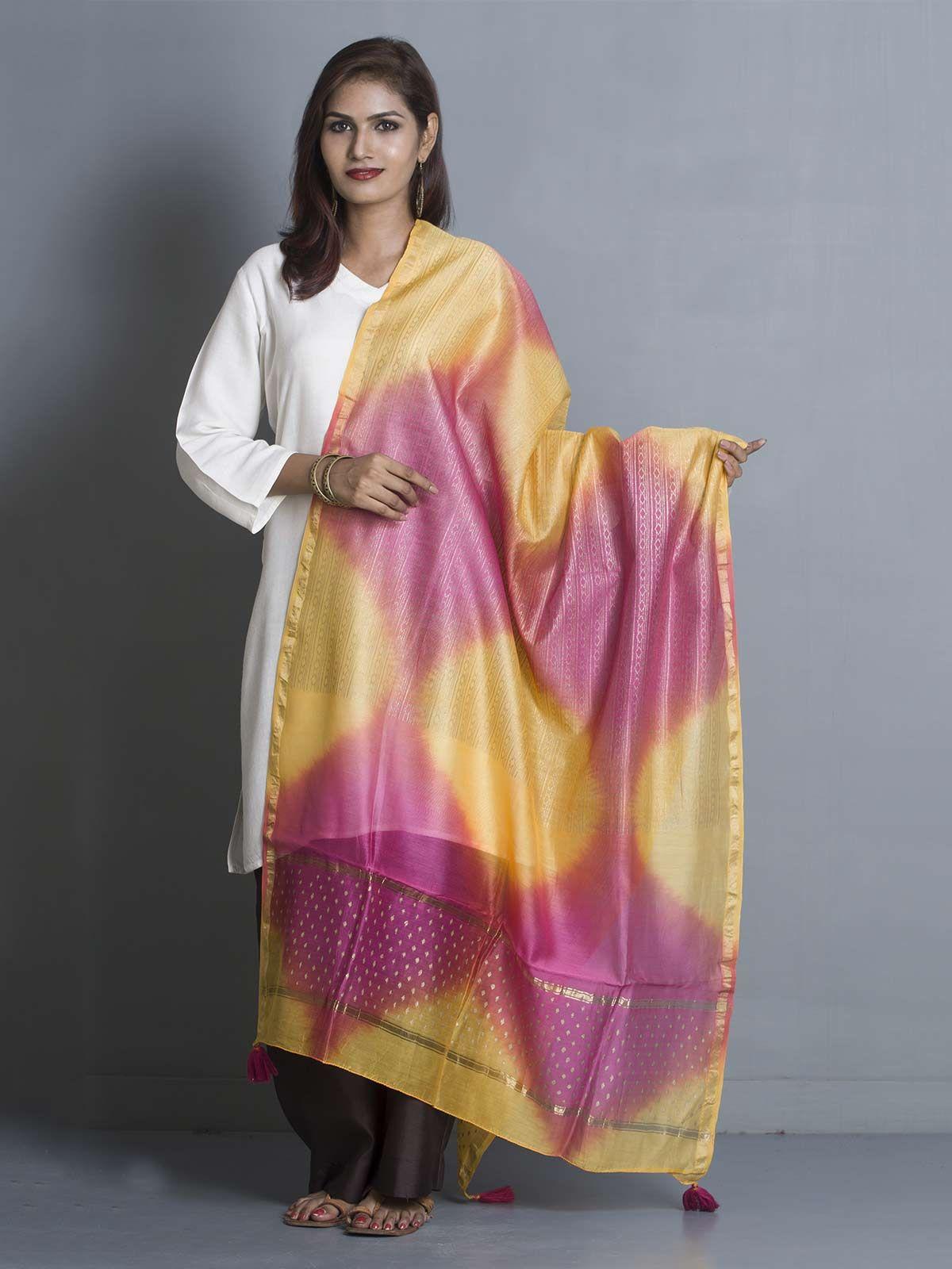 Pink and Yellow Chanderi Gold Block Print Dupatta