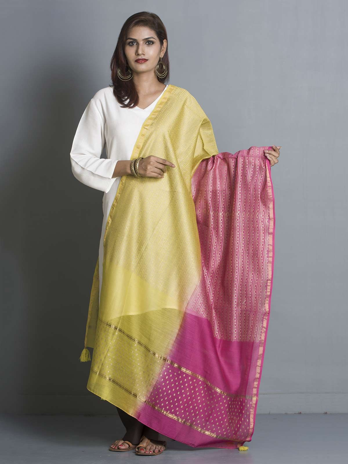 Pink and Green Chanderi Gold Block Print Dupatta